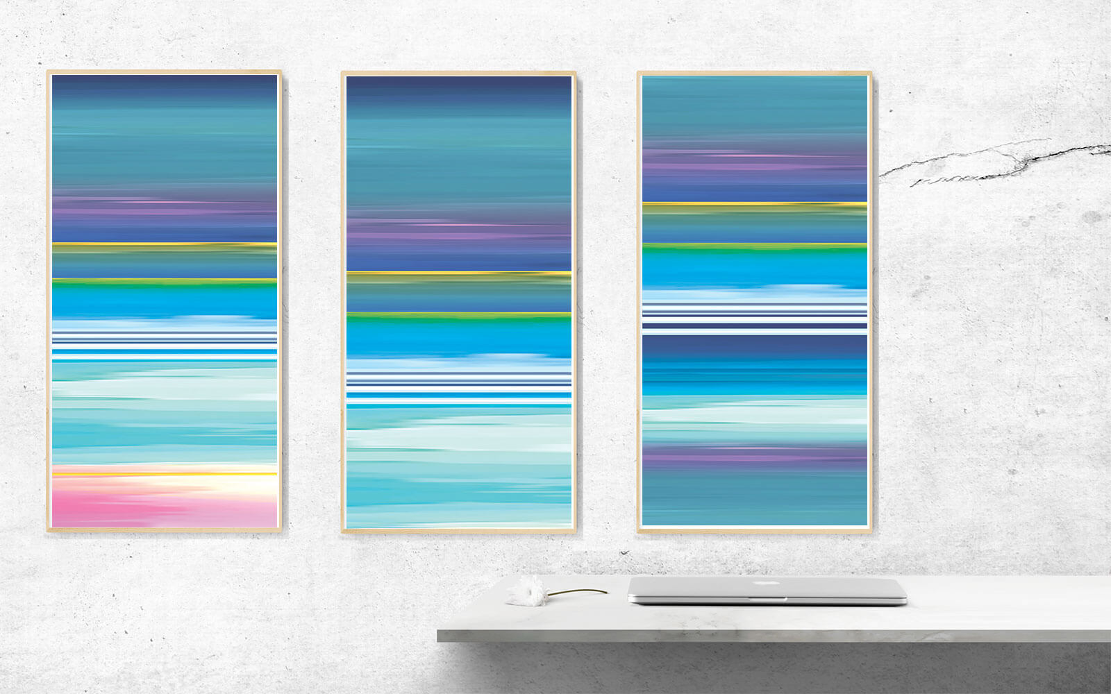 City Reflections Series -  New York Hudson River.  Abstract   Art for Sale Triptych £550. Art for Sitting Room, Hall Way, Bright Room.