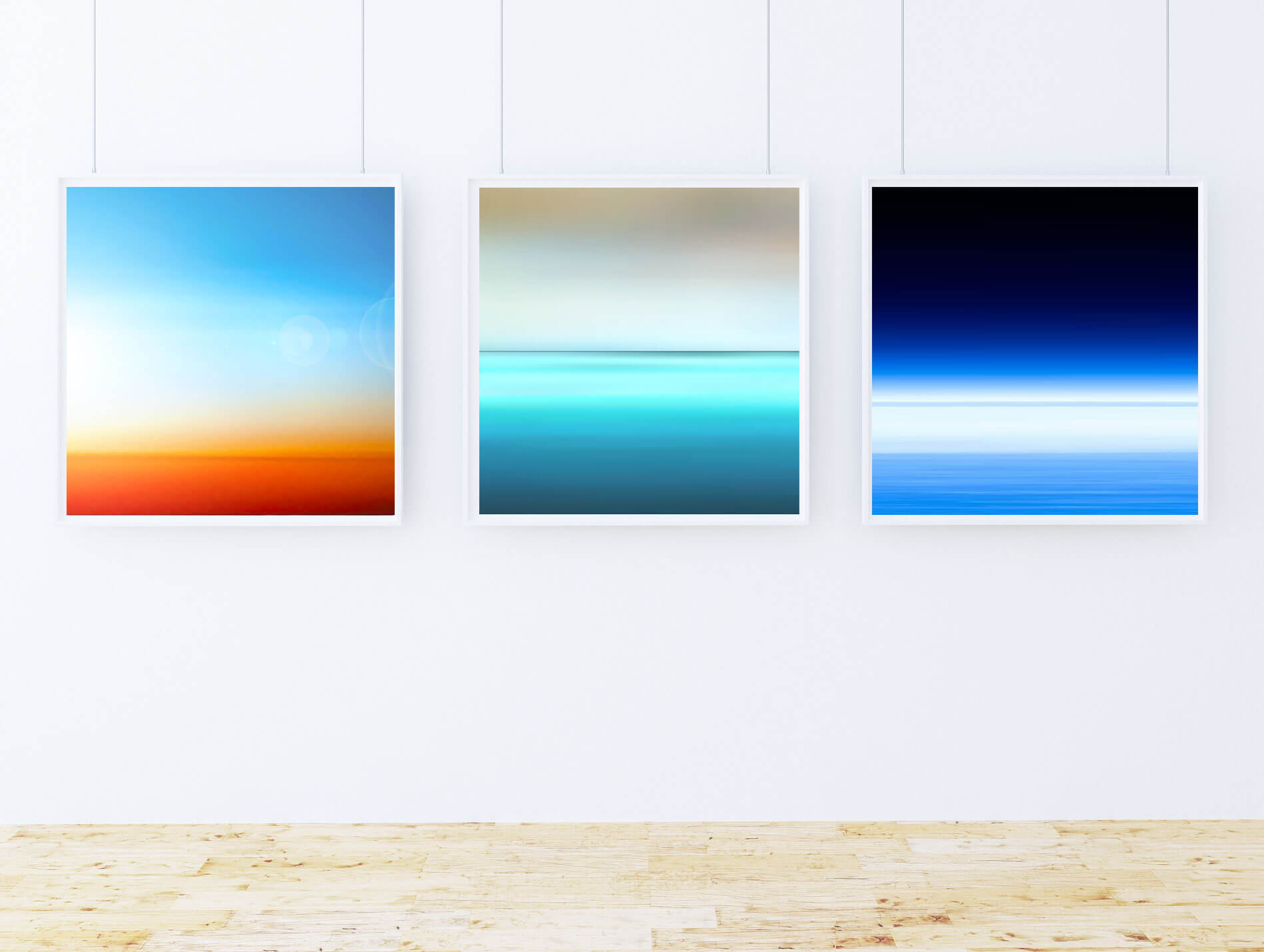 Space-Sea Series  - Desert, Sea, Space! Abstract Art for Sale (60x60cm) £395 Framed (each). Art for Sitting Room.