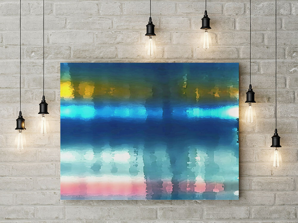 New York River Lights  Large Abstract Canvas | Art For Sale (120x100cm) £630. Art for Feature Wall