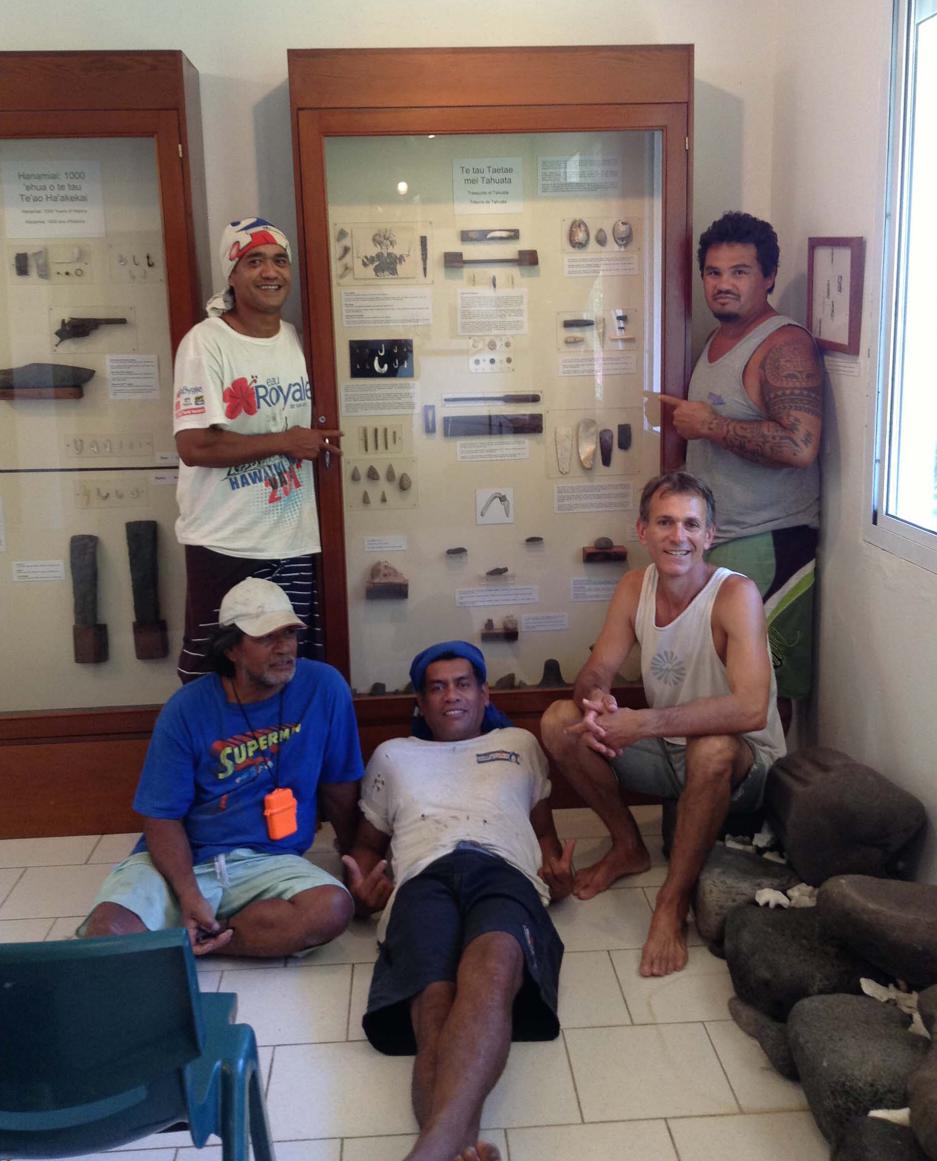"2013. Samuel Tiaiho, Manuhi Timau, Hio Timau, Barry Rolett and Joseph Barsinas with the completed ""Treasures of Tahuata"" exhibit."