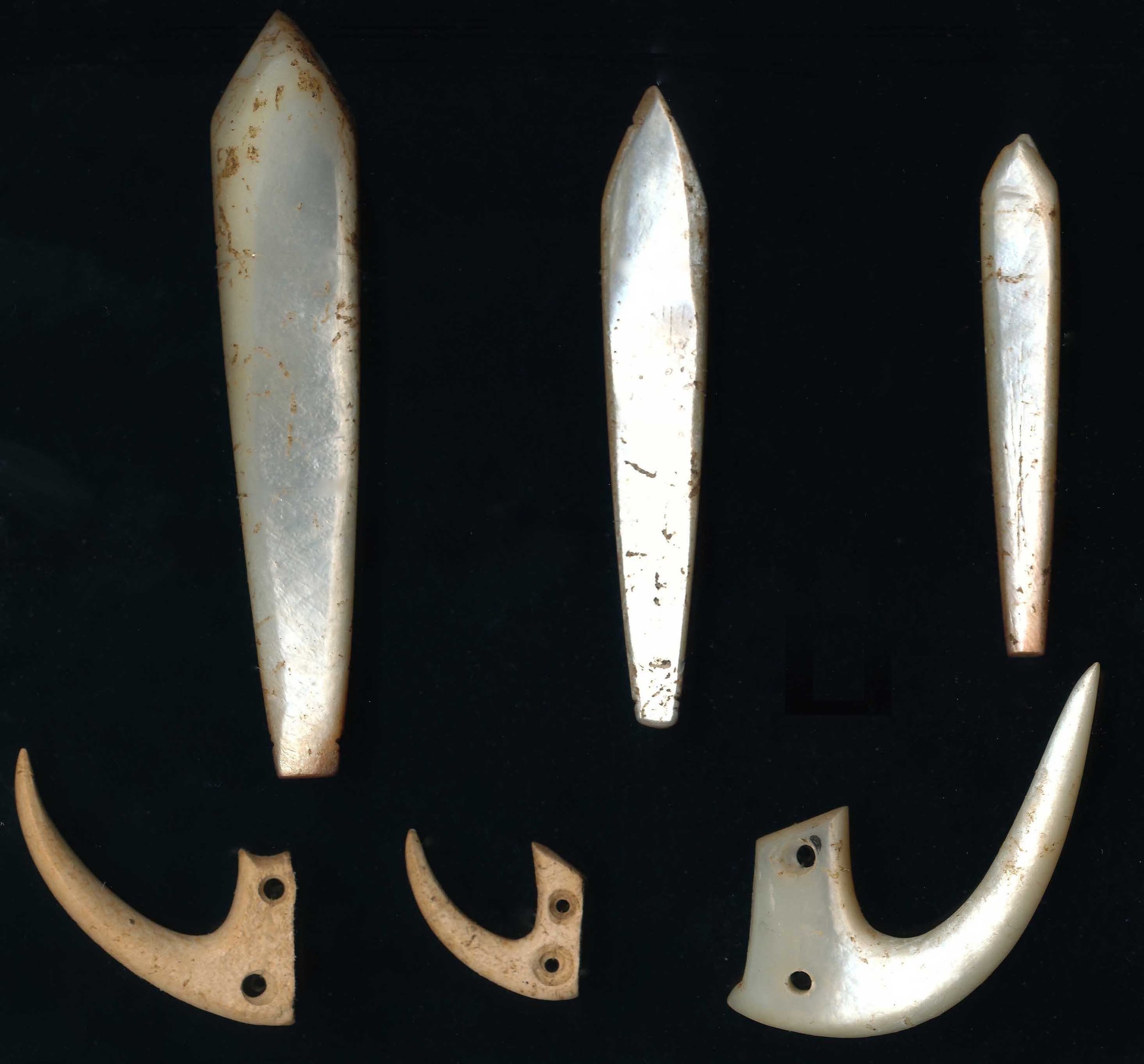 Trolling lure shanks and points discovered during the Hanamiai excavations. Artifacts such as these from the deepest deposits at Hanamiai date to the time of the earliest Polynesian settlement of the Marquesas, 700 - 800 years ago.