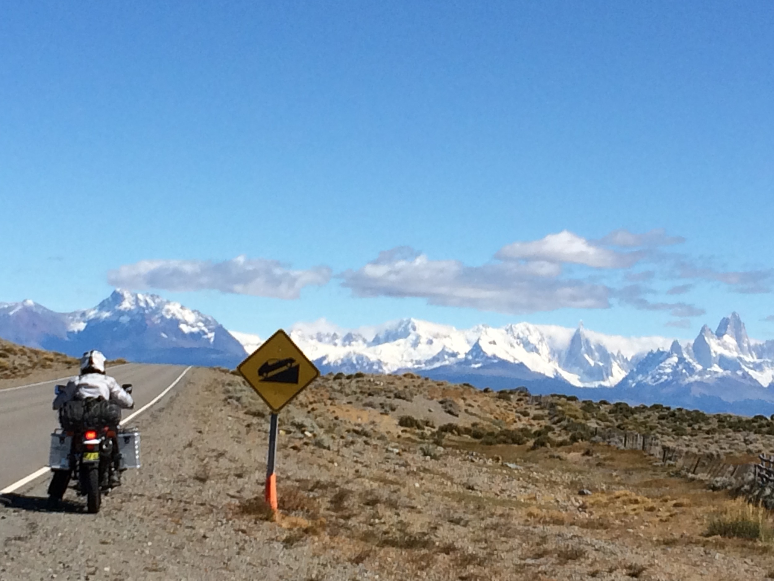 On the road to El Chalten - The magnificent Andes with Mount Fitzroy on far right.