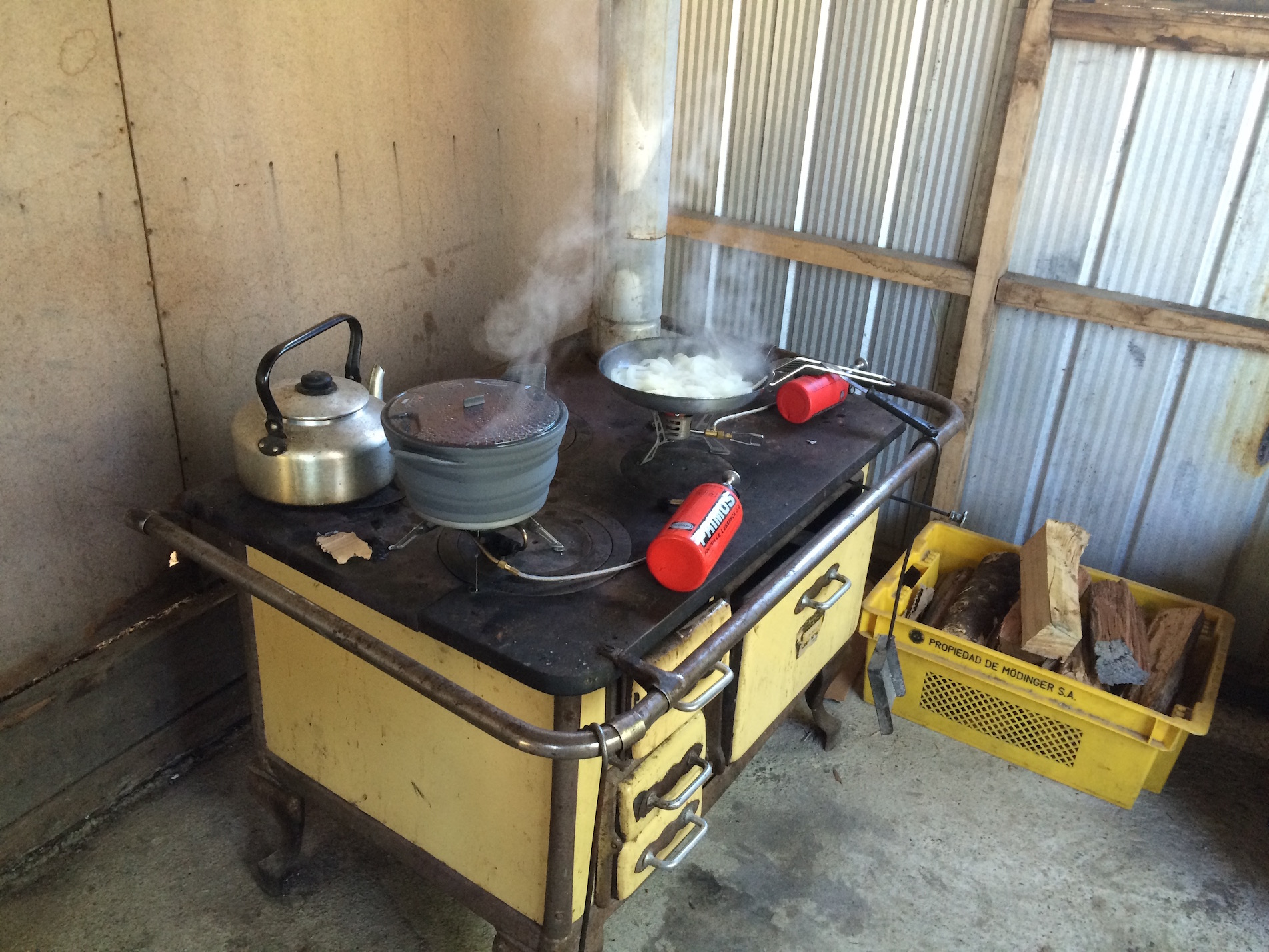 State of the art kitchen at campsite - so we just use our camp stoves on it.