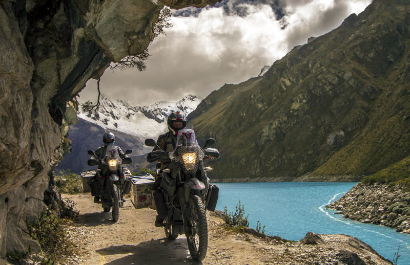 Stephan and Ulli's photo they entered in the Horizons Unlimited 2017 Calendar competition -riding in Peru.