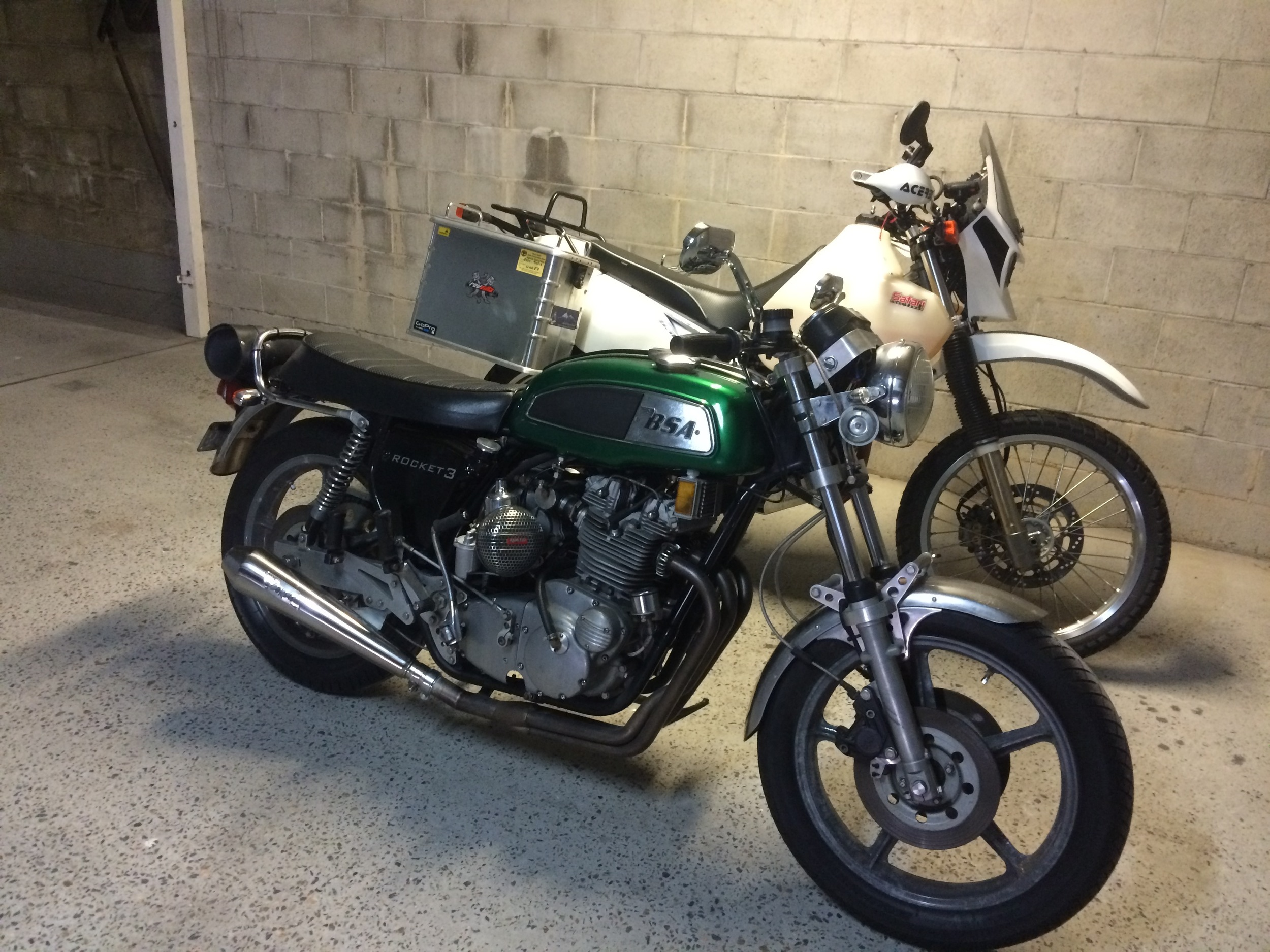 Jeff's DR beside his '69 BSA A75R....the supercharged beastie