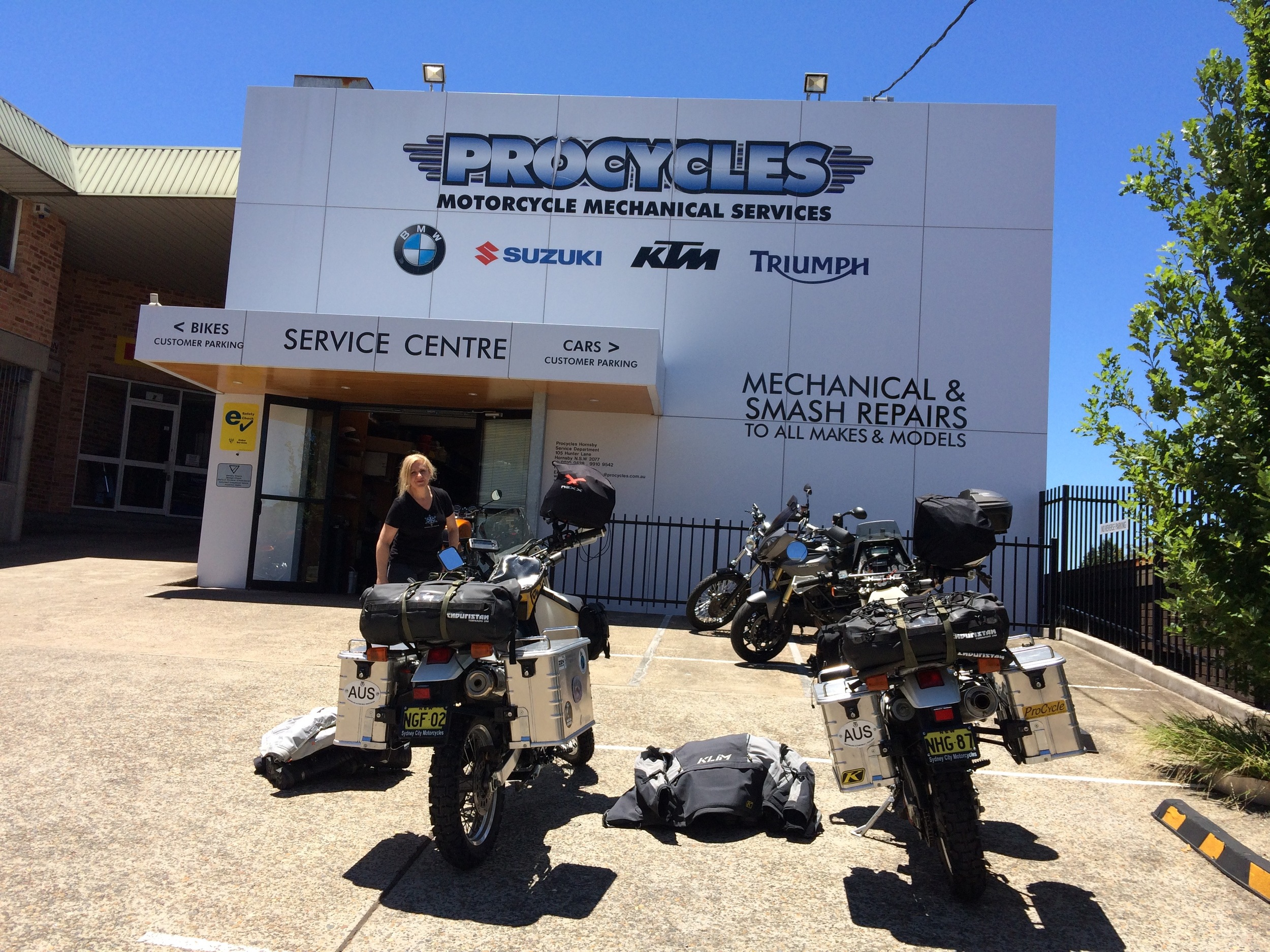 Delivering the bikes to be crated and sent to Argentina