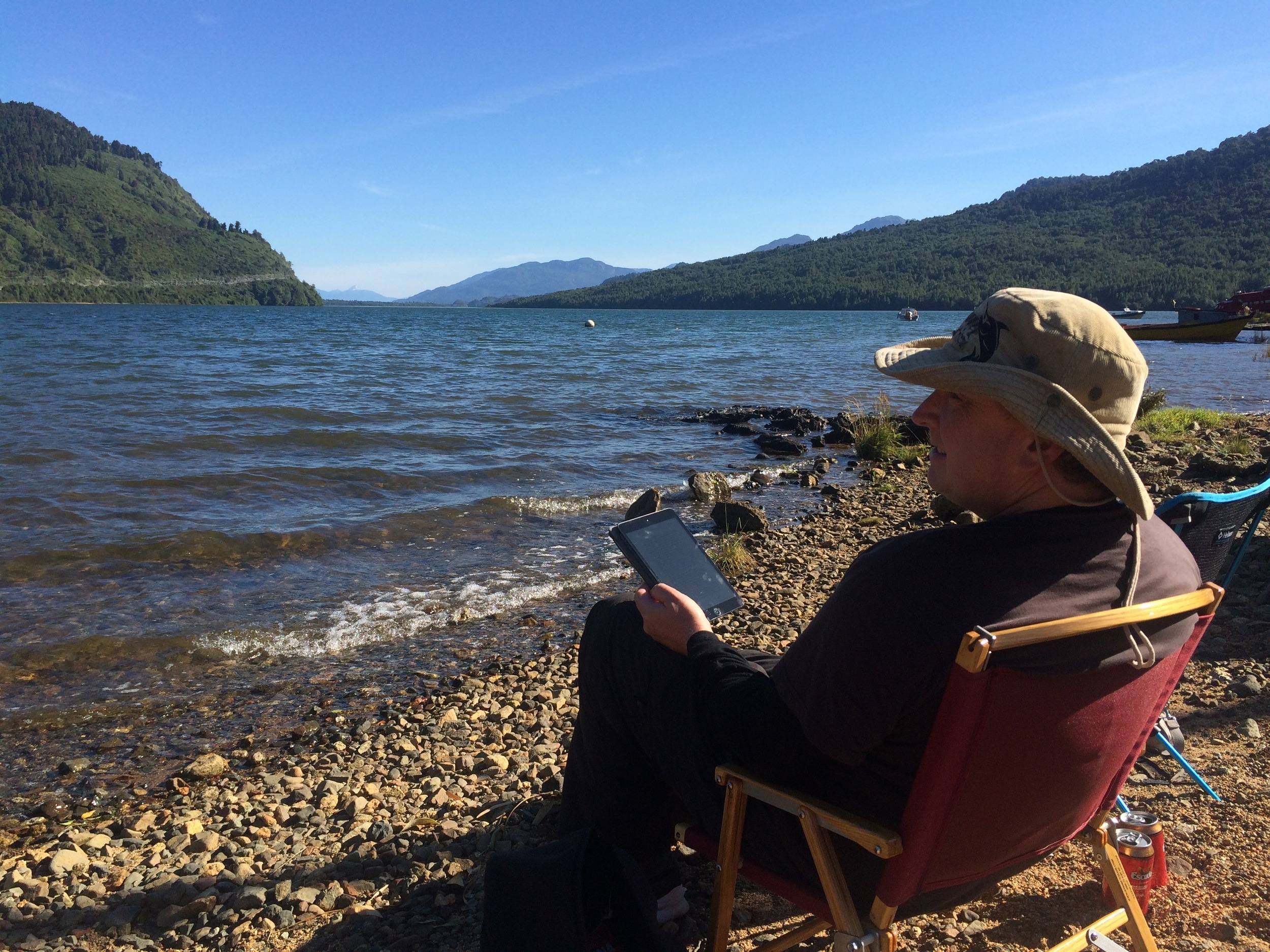 Relaxing after a hard day off-road. Puyuhuapi, Chile on the Carretera Austral.