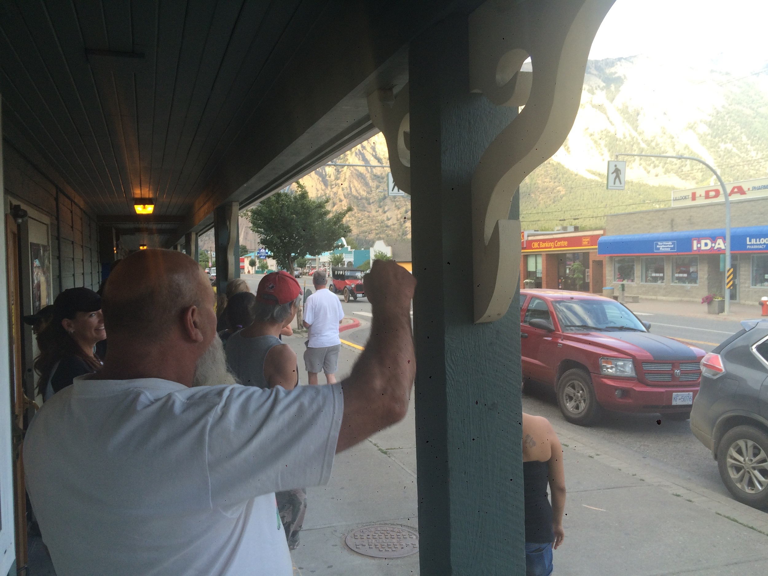 Lillooet, the pub briefly empties in anticipation of a car show