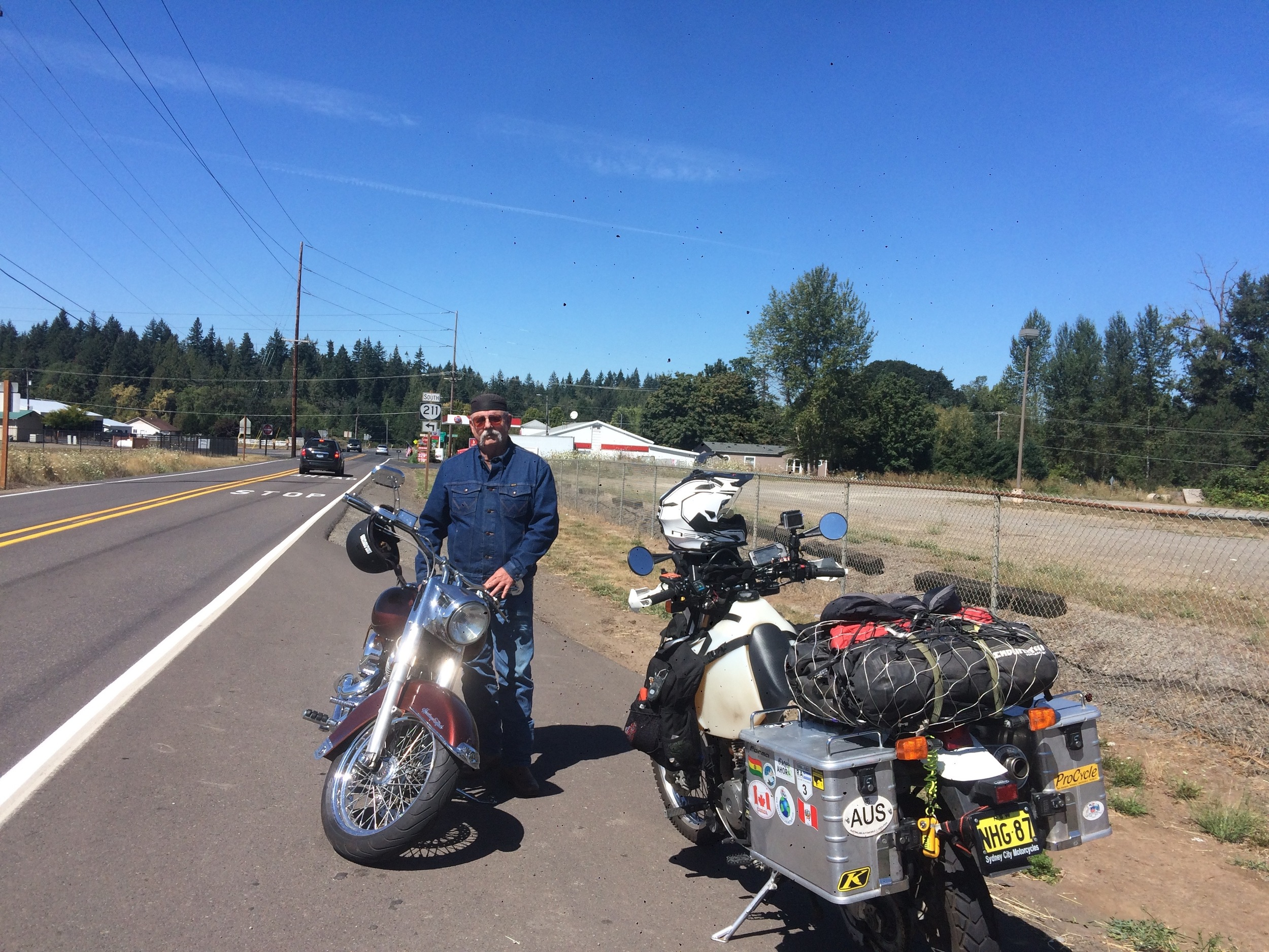Here's Thad and his '91 Harley, another cool and interesting character we met on the road.