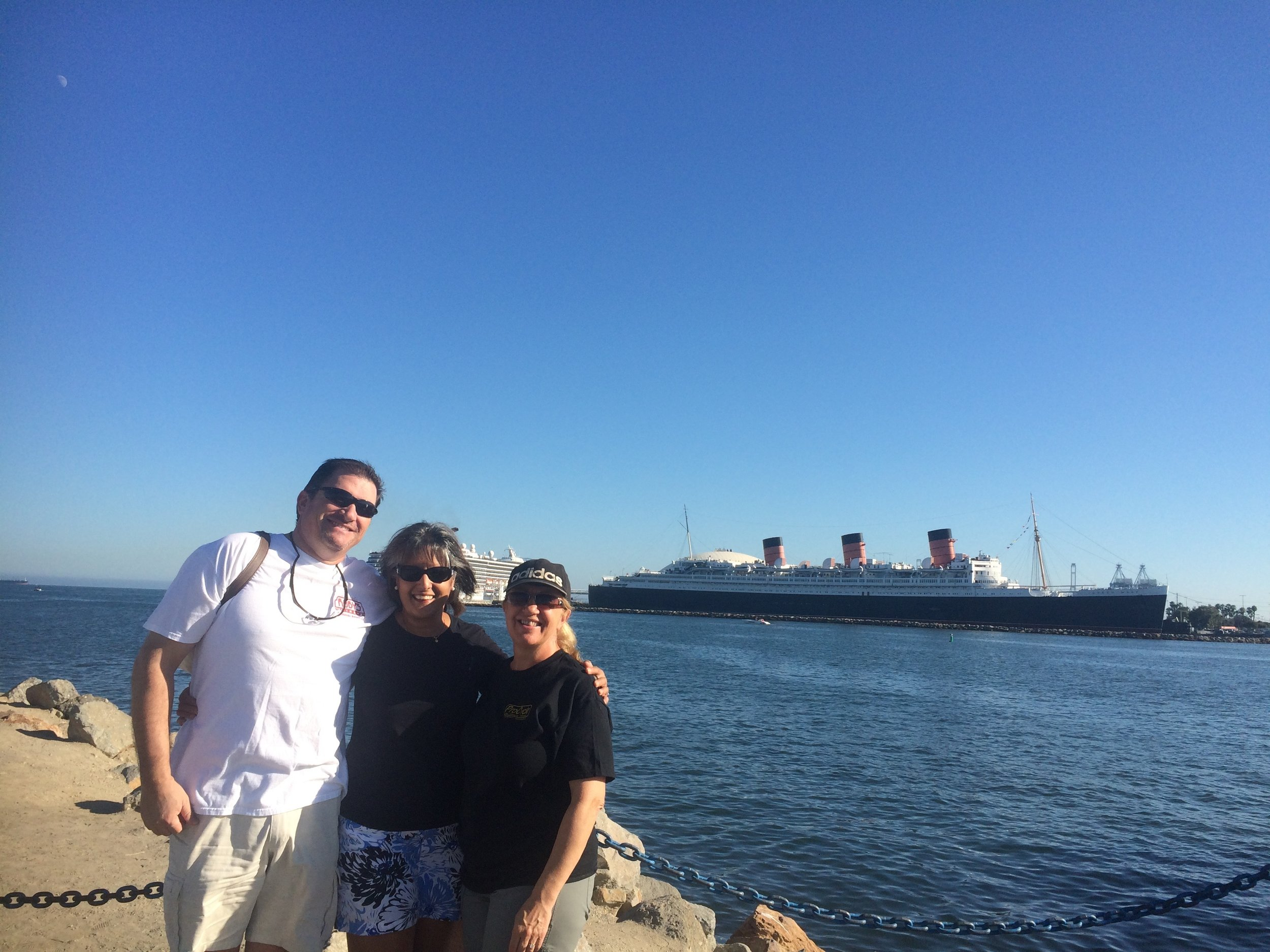 Sukhpal and Martin at Long Beach. Queen Mary in background.