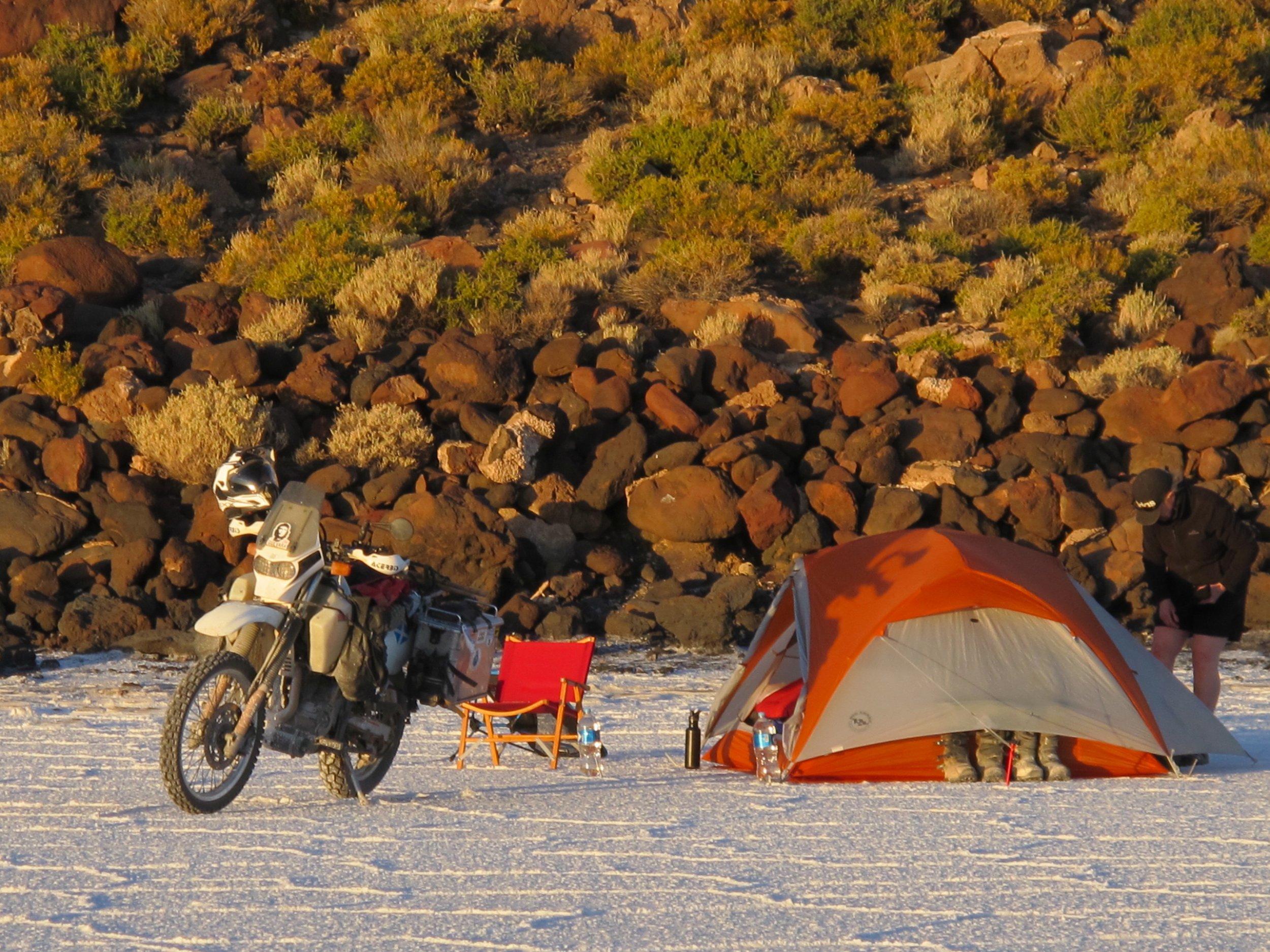 Camping beside Isla Incahuassi, Salar de Uyuni, Bolivia