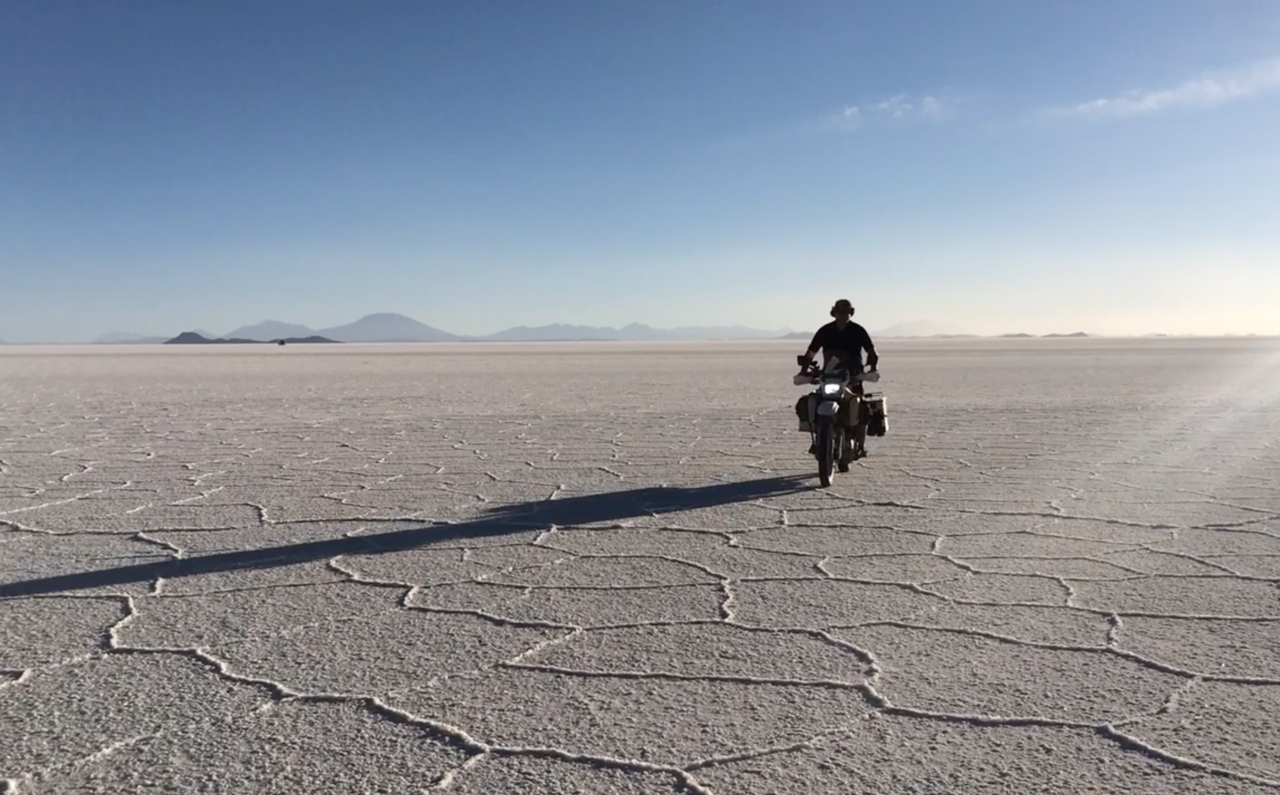Riding on the Salt, Stay away from the edge of the island where it is wet and soft.  Salar de Uyuni, Bolivia