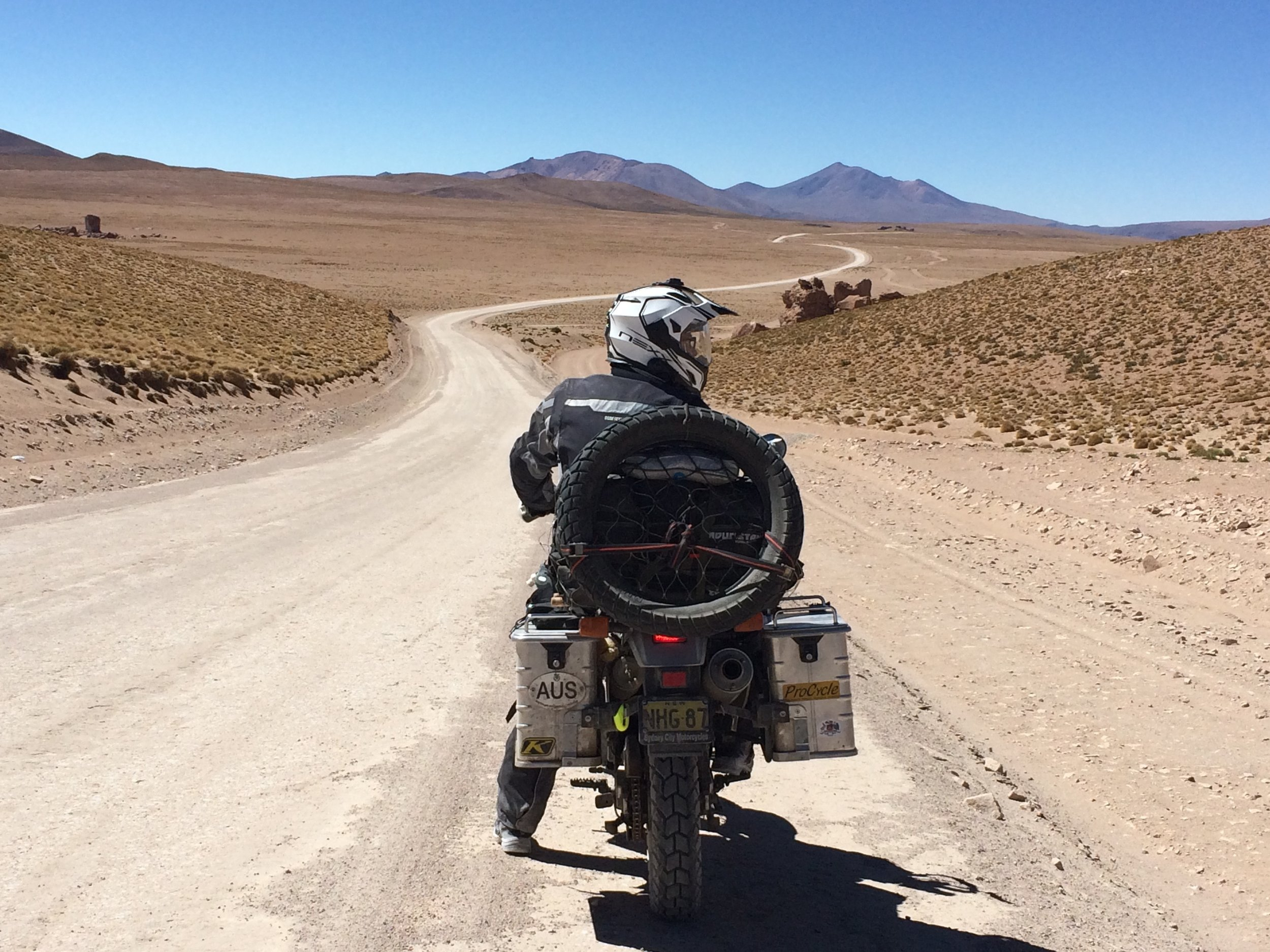 Mainly good gravel roads in Bolivia, except where they are doing construction work.