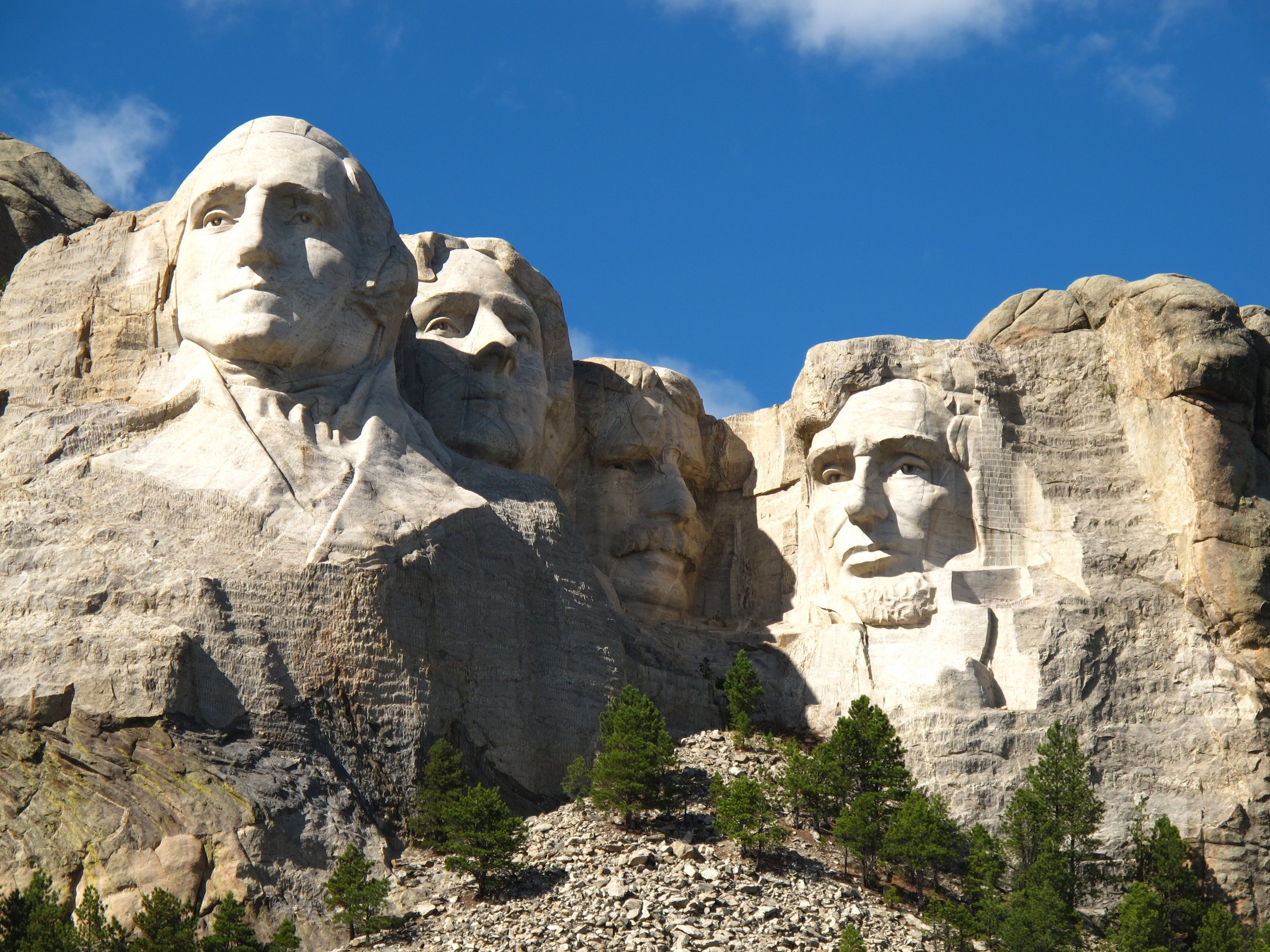 Mount Rushmore. From left to right: George Washington, Thomas Jefferson, Theodore Roosevelt and Abraham Lincoln