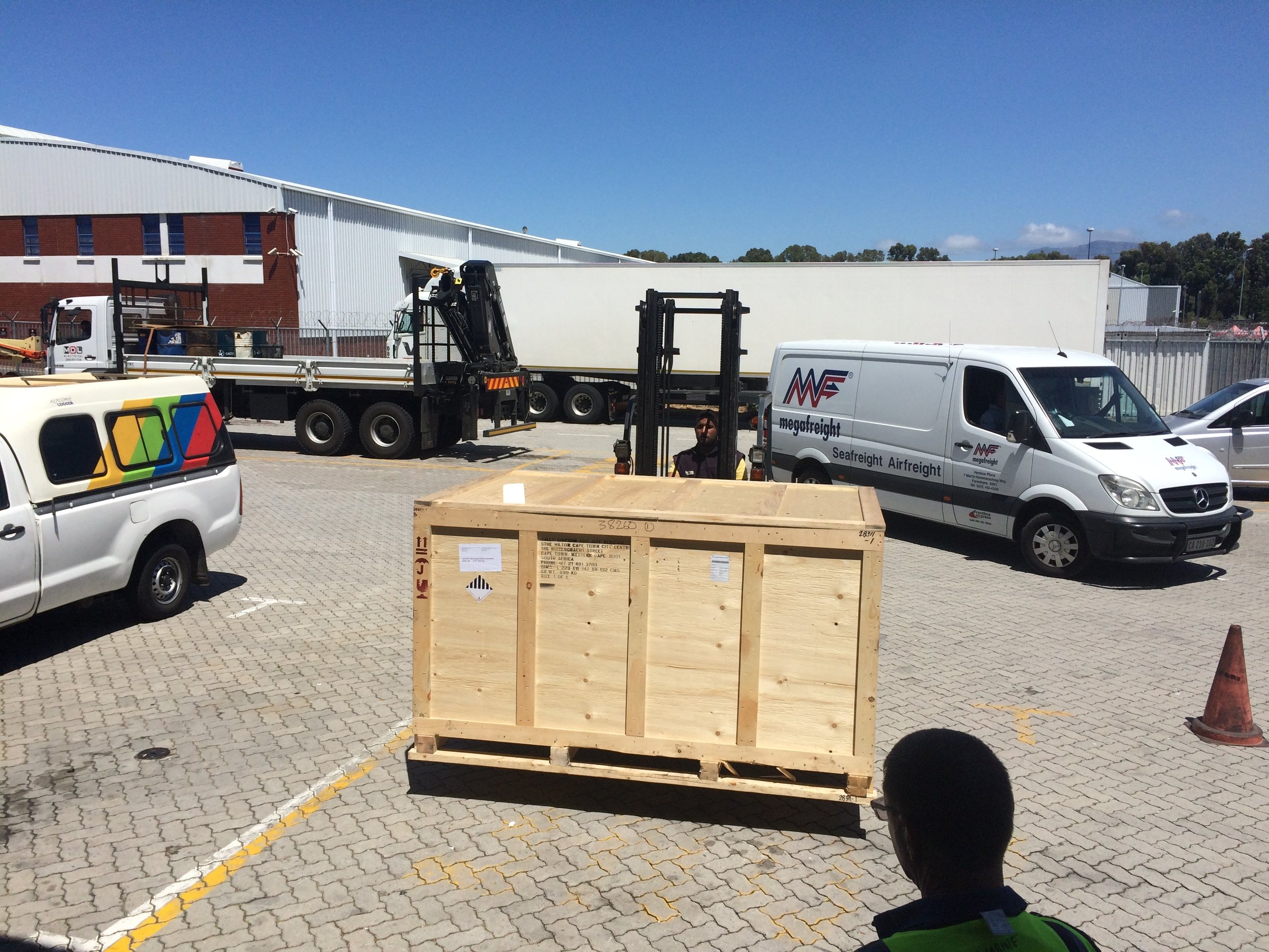 Now this is always a welcome sight, our crate comes out of the warehouse.