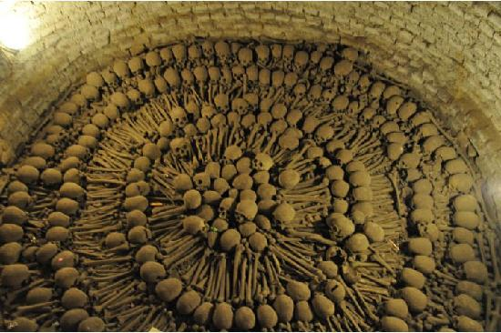 Basílica de San Francisco. One gory feature is its catacombs full of human bones. Back in the day it was the town cemetery. And, yes, that really is a pit with lots of human skulls and bones.