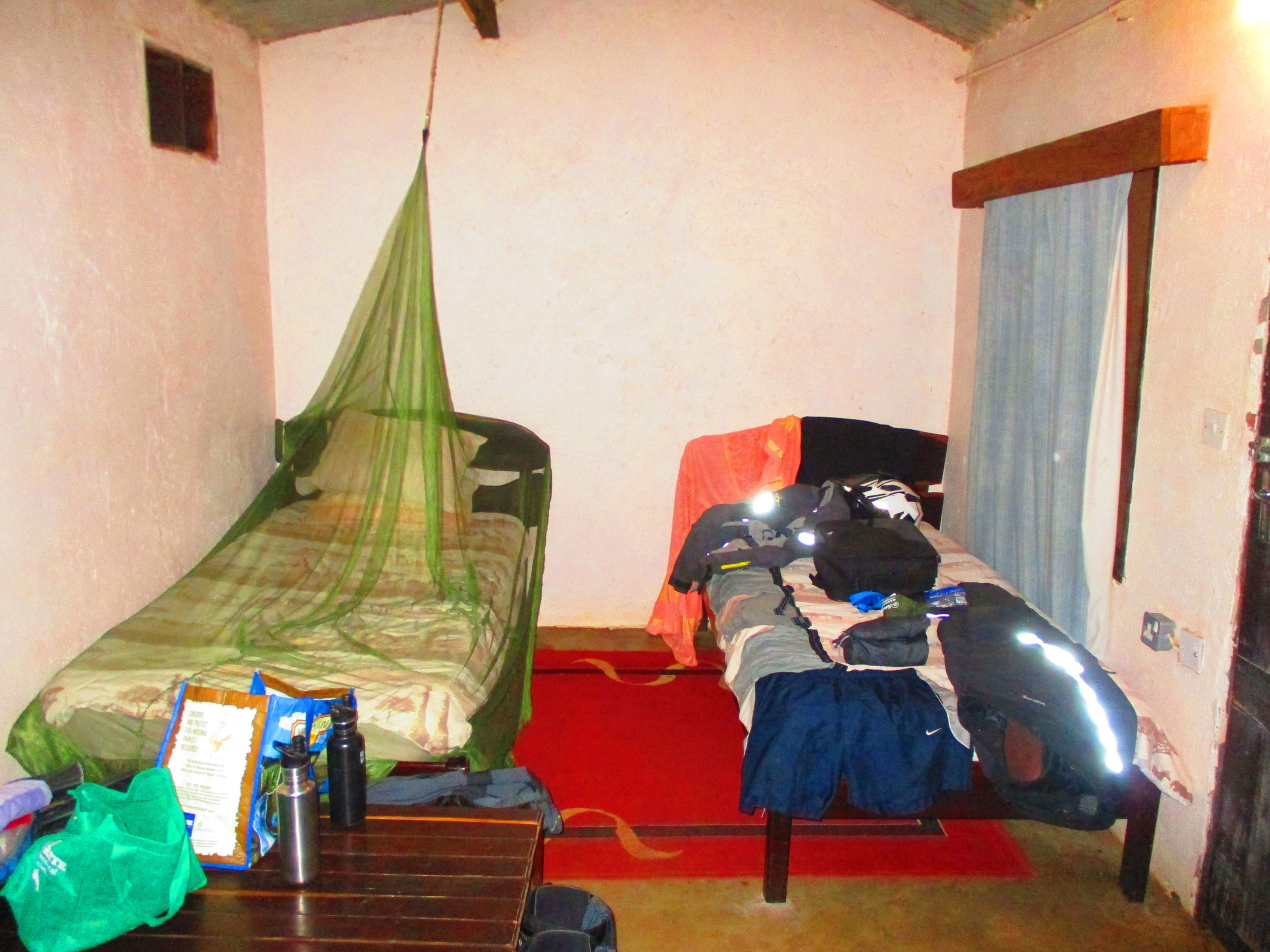 An impression of the 'concrete cell' type accomodation. BYO Mozzie net.