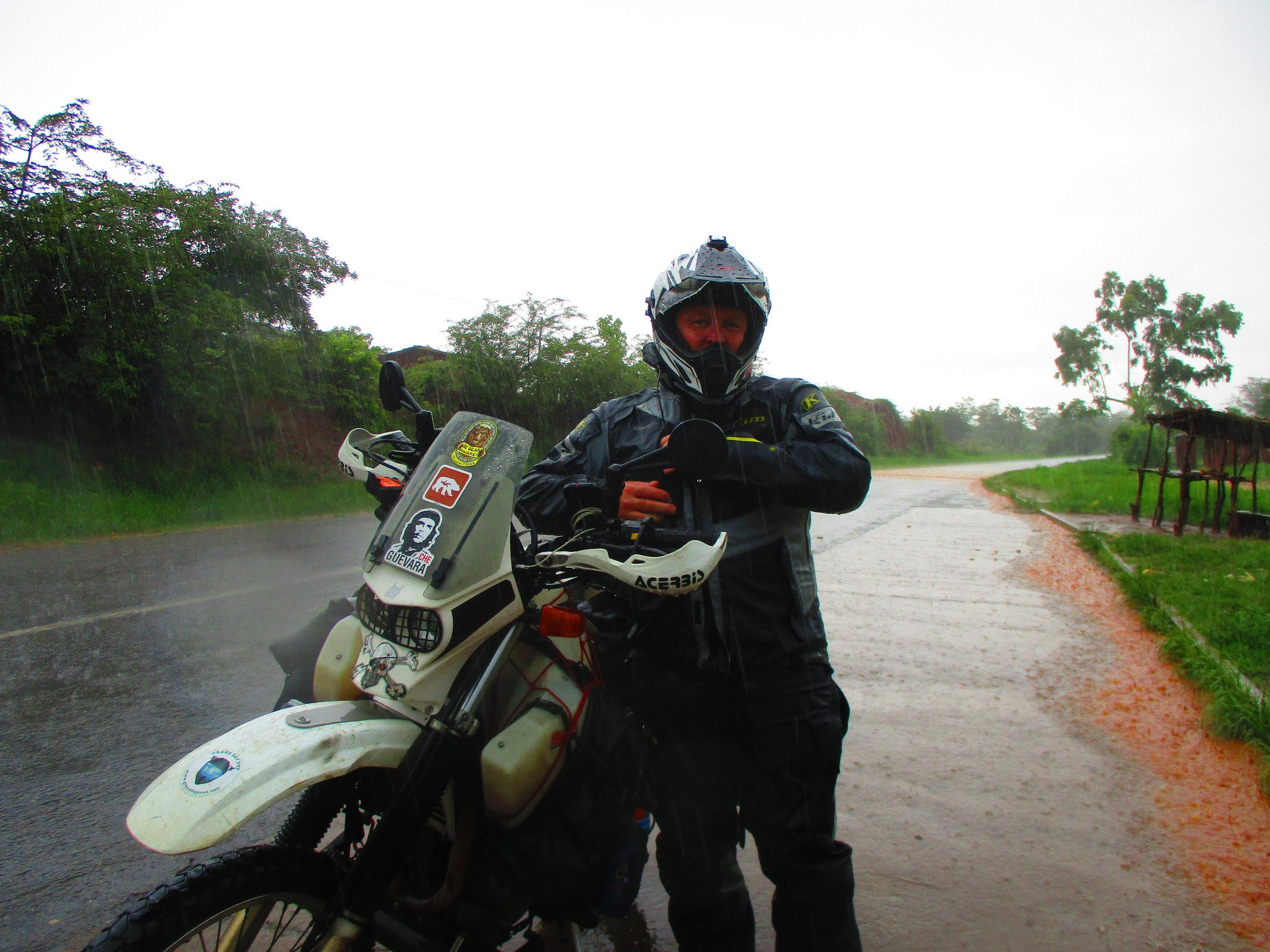 The rain hits