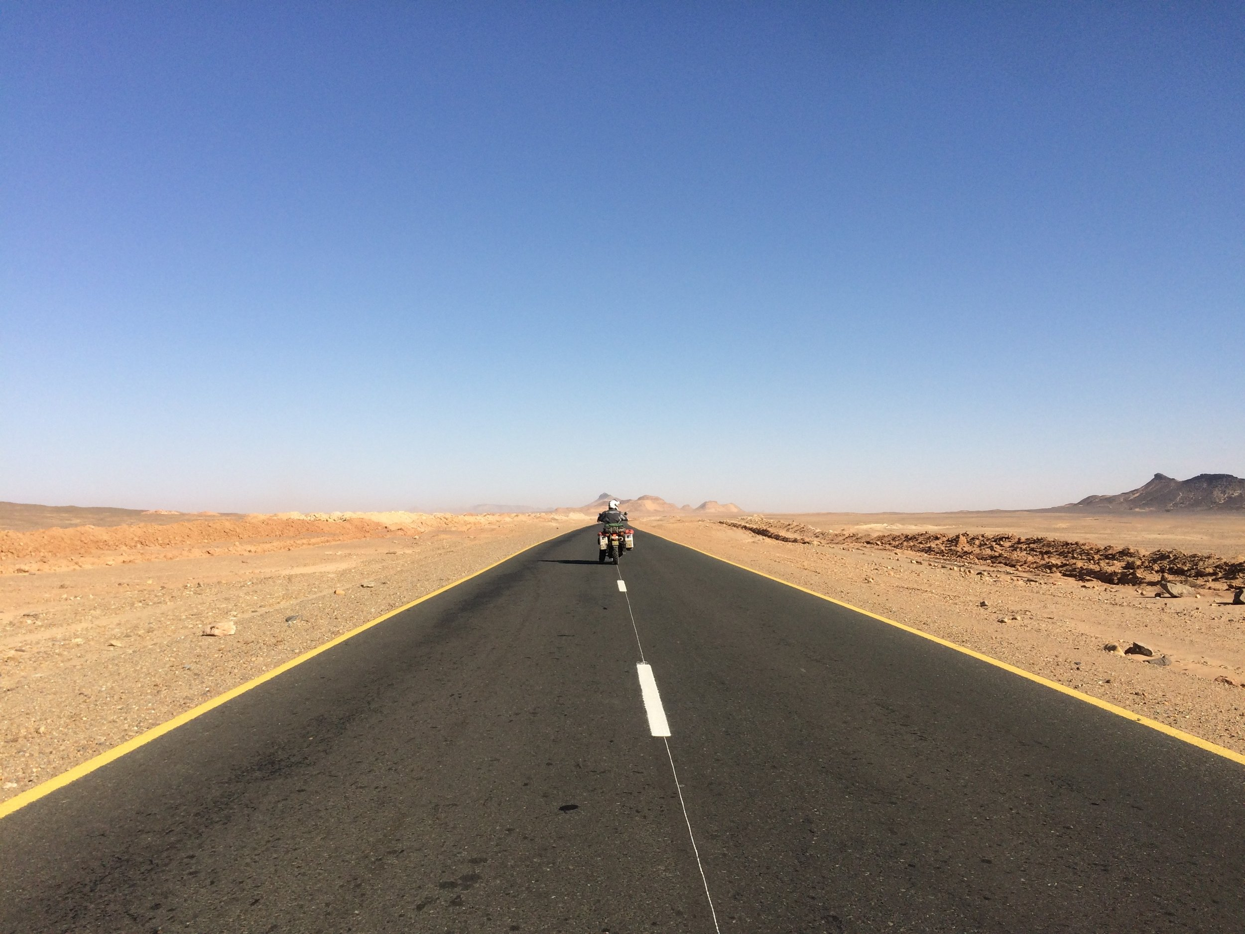It starts off as a lovely day for riding through the Sahara Desert.