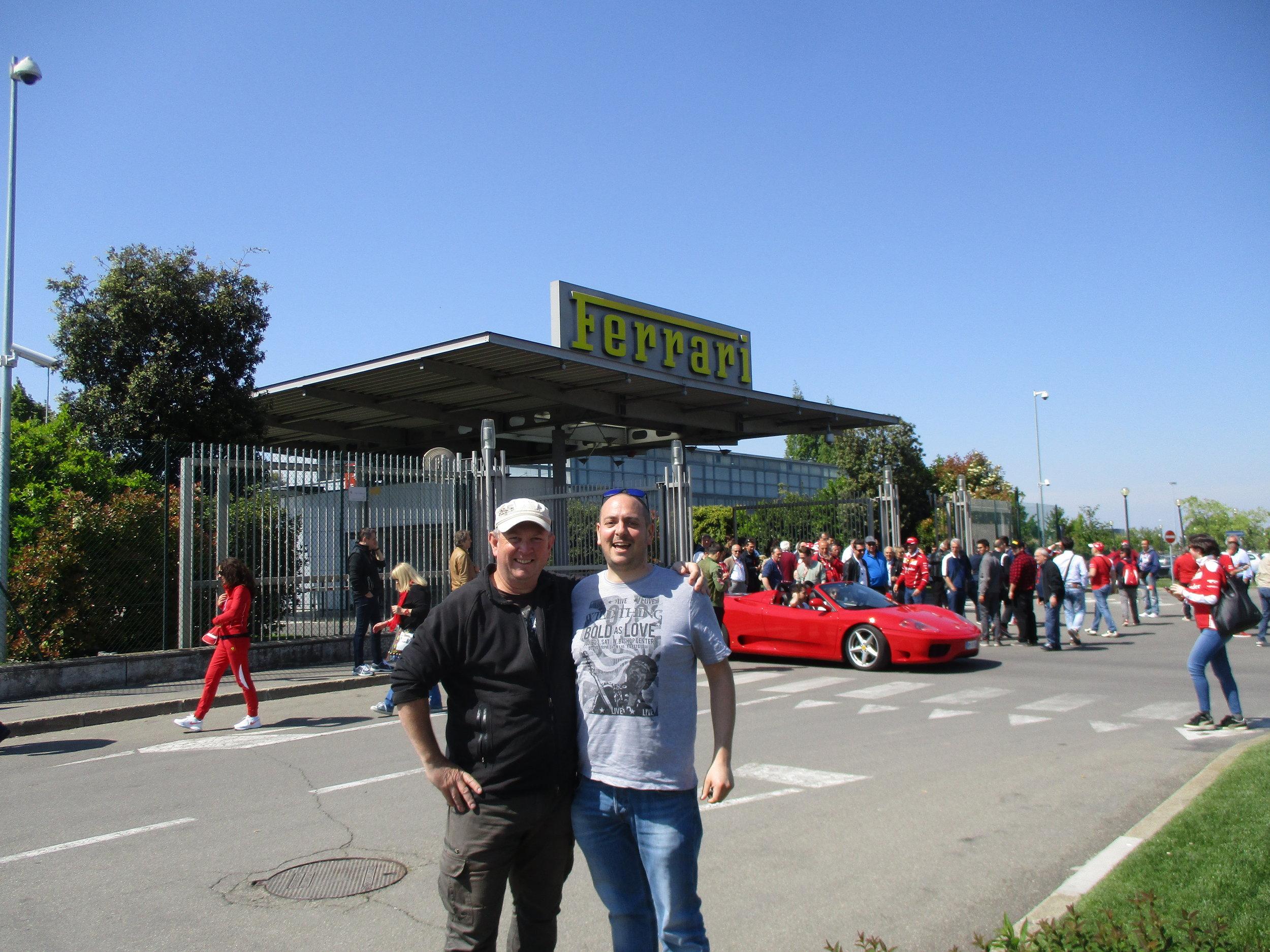 Carlo and I outside Ferrari