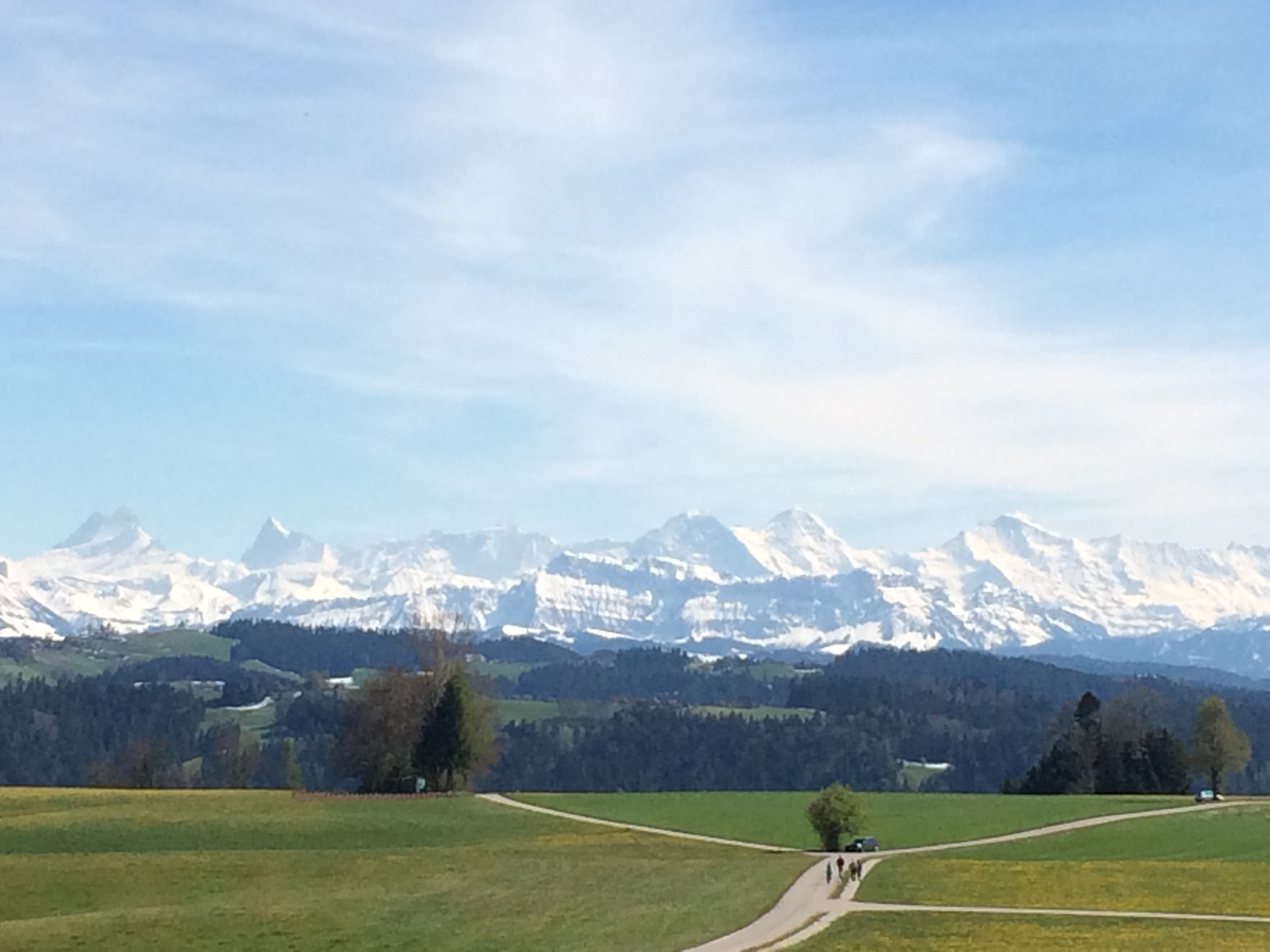 The Jura alps, in the background of Madiswil. The most Idyllic place we've seen anywhere in the world.