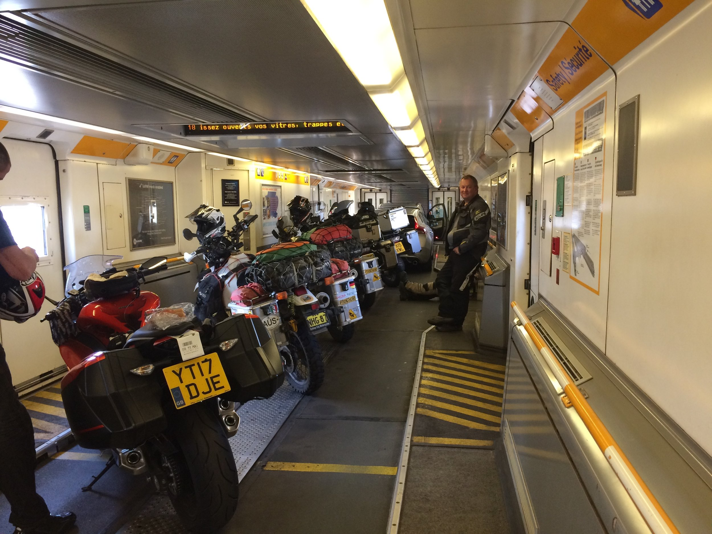 Eurotunnel from Calais to Folkstone.