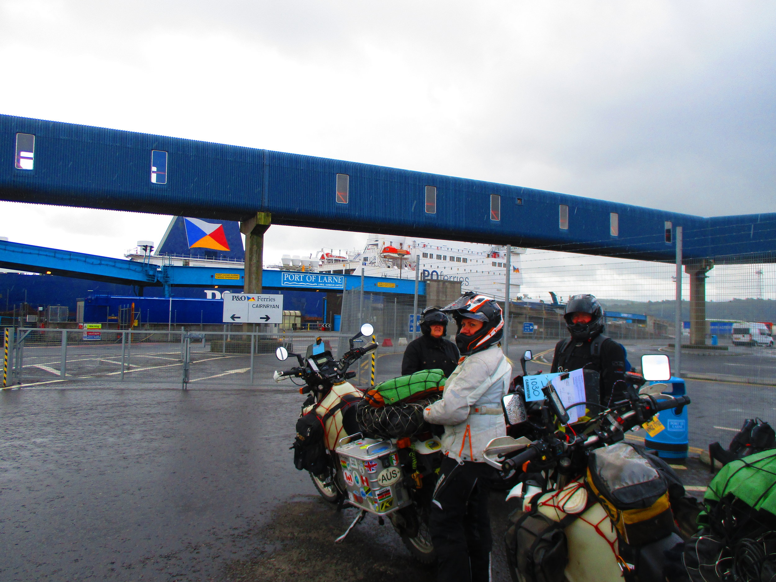 Waiting to board ferry at Larne, Northern Ireland to sail to Cairnryan, Scotland.