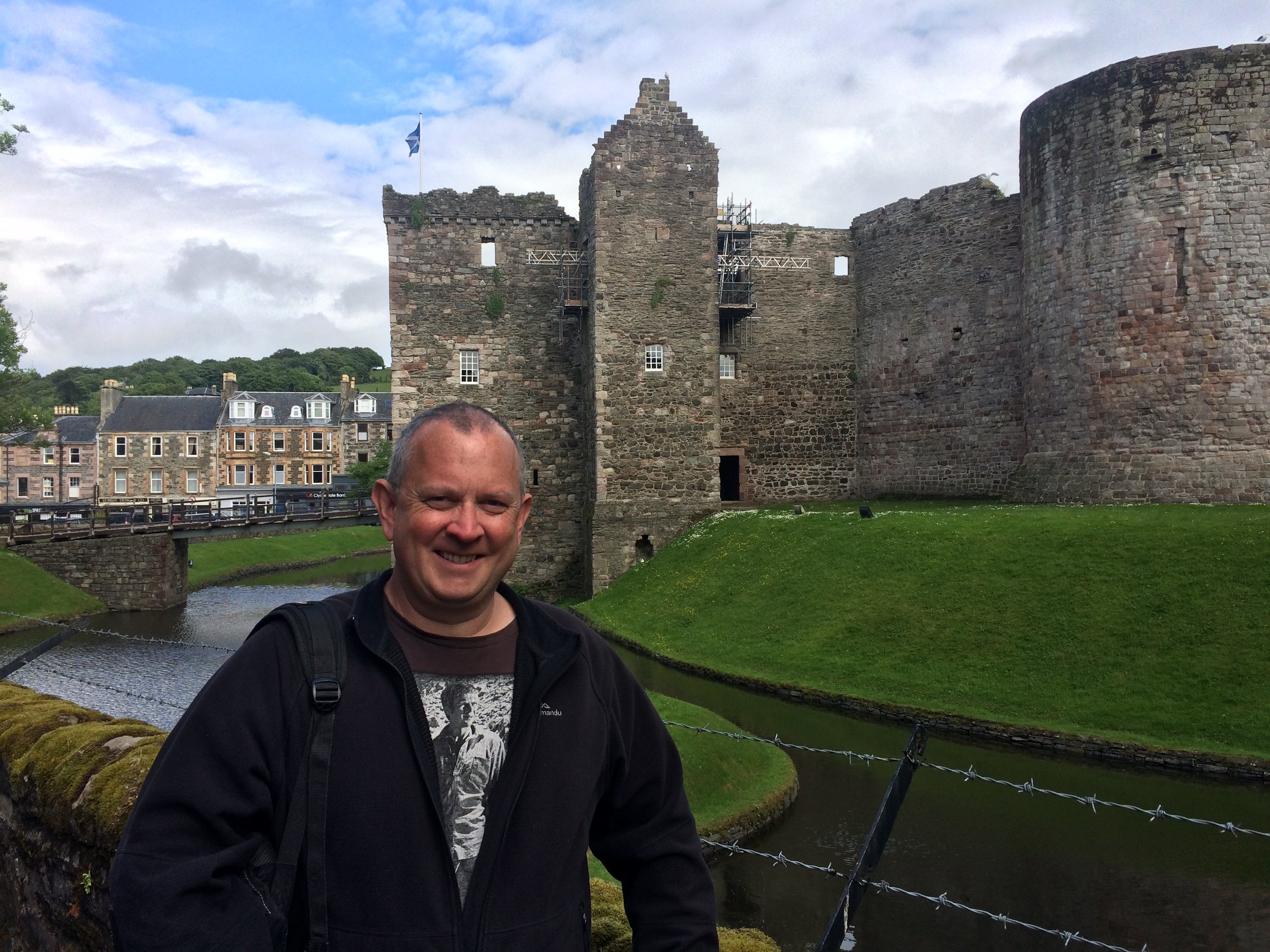 Jeff at Castle in middle of Rothesay.
