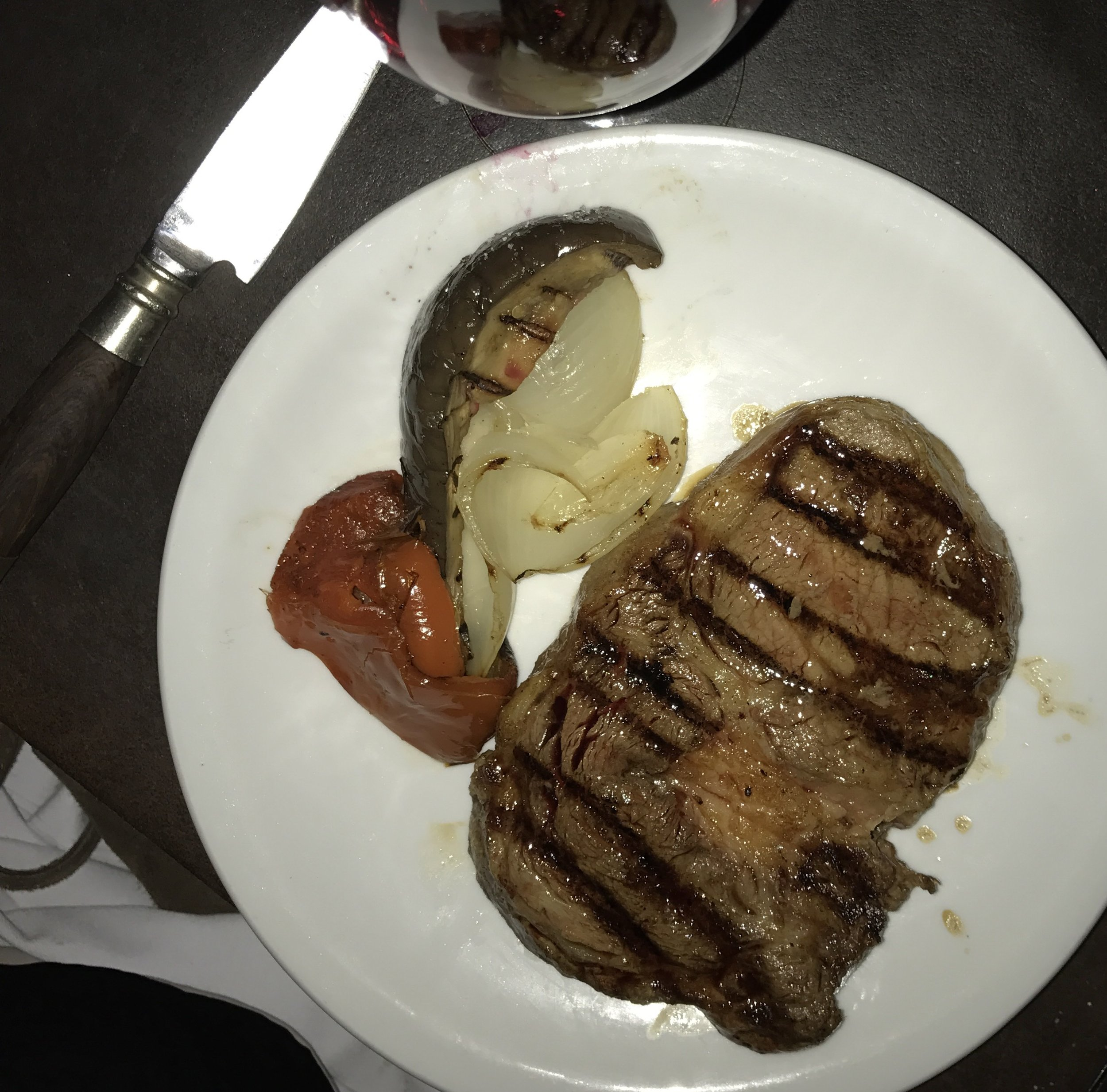 This is not a great picture of the steak but the lighting was terrible