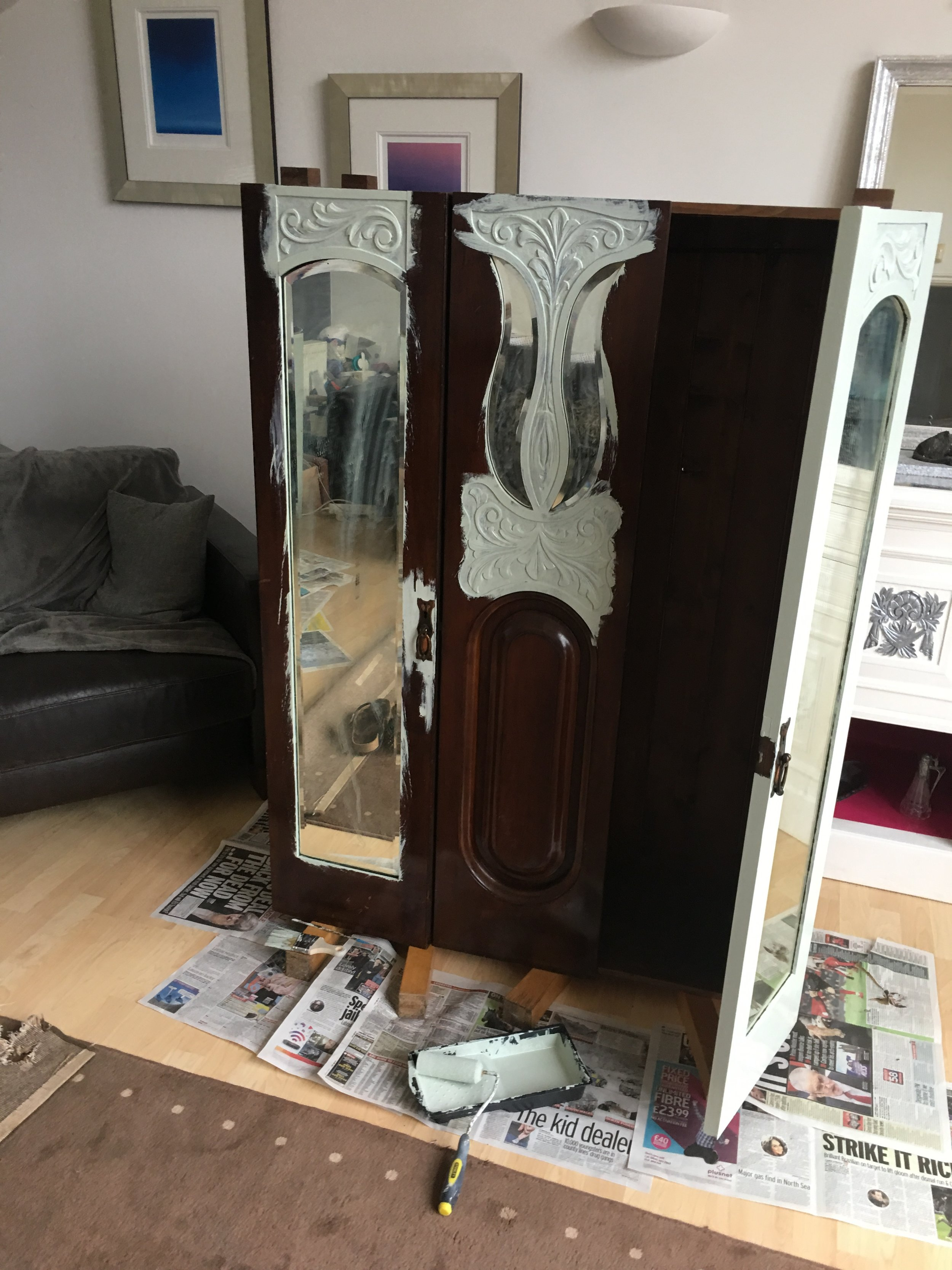 Painting the edges around the mirror takes time