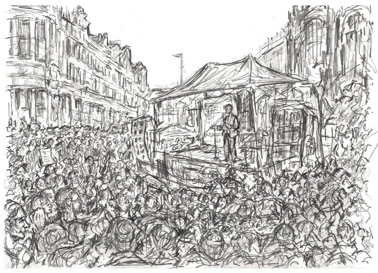 STUDENT & GRADUATE PRIZE: ROBIN SUKATORN    'Jeremy Corbyn speaks in Manchester', graphite stick on paper. Robin Sukatorn, 2015  (SOLD) -   Read our interview with Robin