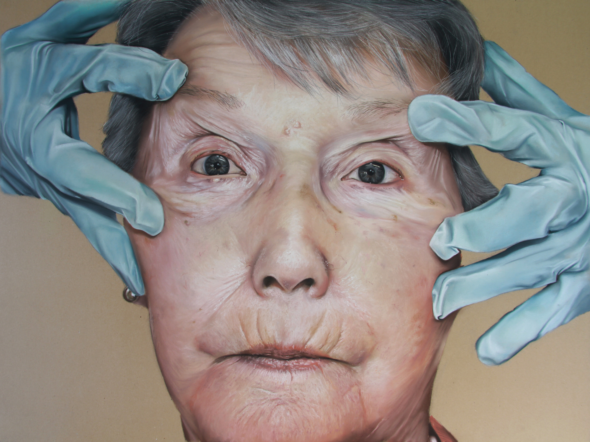 PEOPLE'S CHOICE AWARD: OLIVER JONES    3 Steps to Younger Looking Skin Pt 3.,  Pastel on paper, 2013. About The John Ruskin Prize
