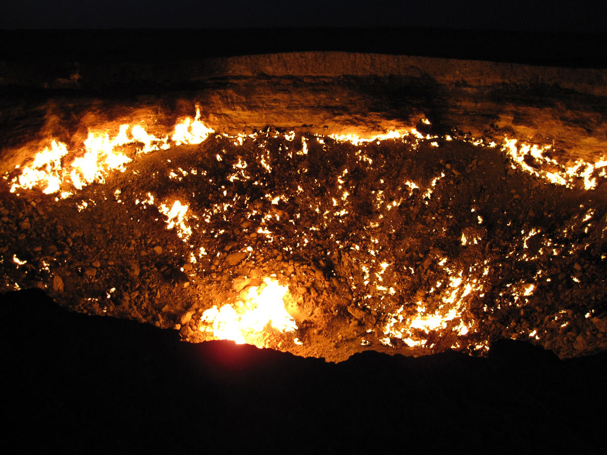 http://twistedsifter.com/2014/12/darvaza-crater-door-to-hell-turkmenistan