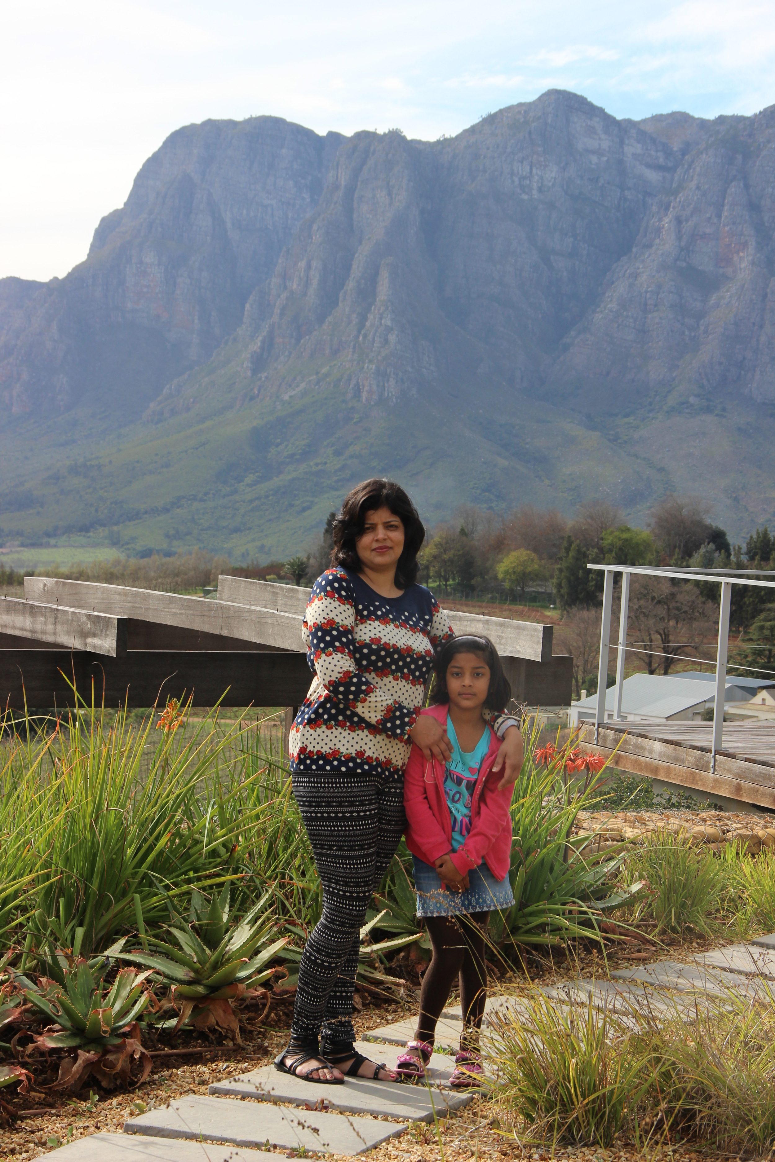 Niyati with her daughter on the last day at Stellenbosch