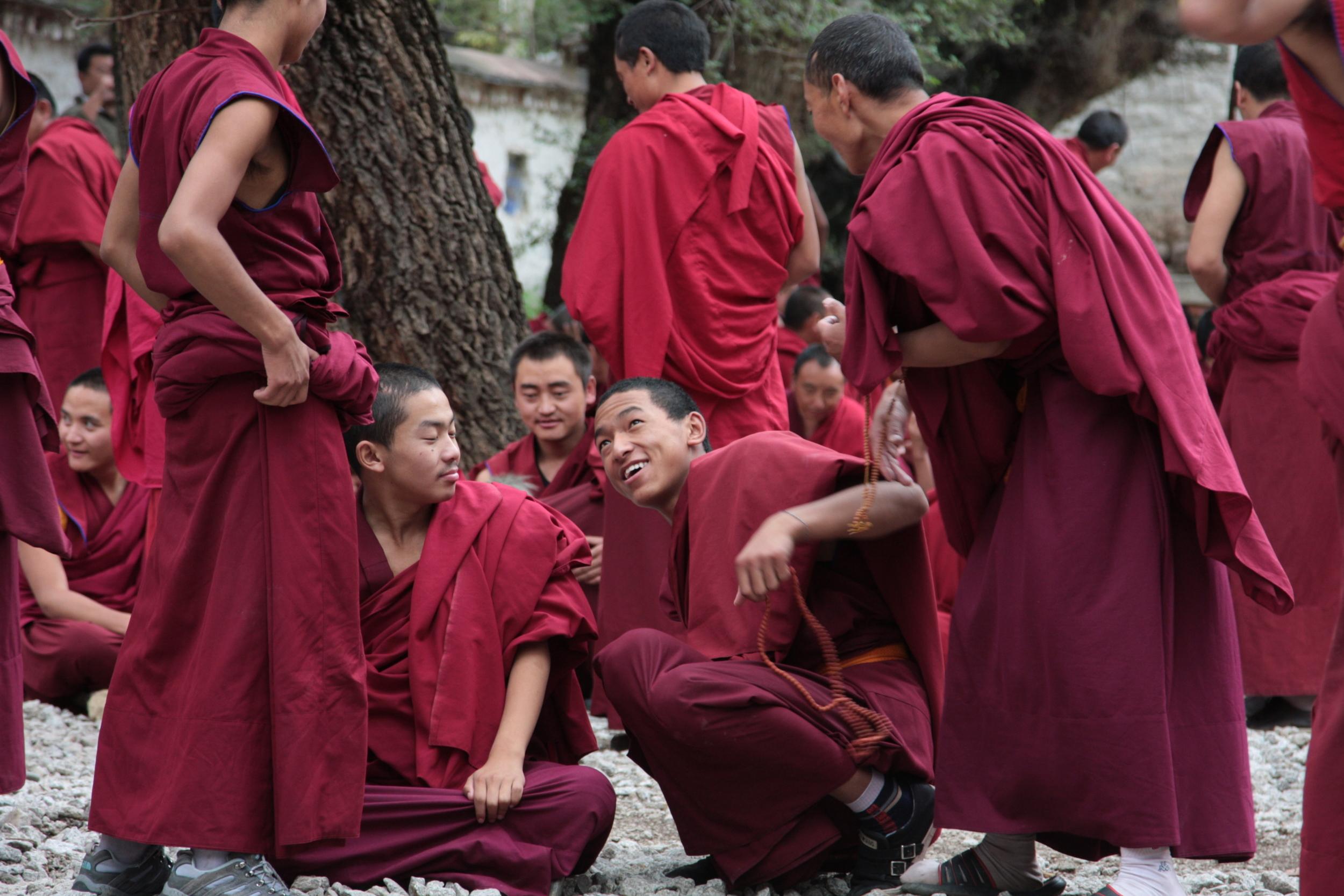 Monks preparing for the debate