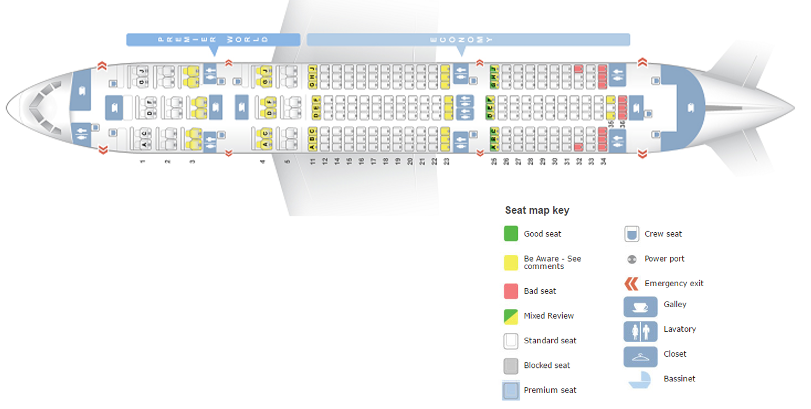 Seating of Kenya Airways Dreamliner Courtsey: Seatguru.com