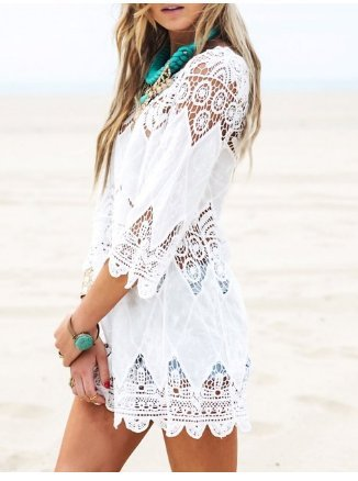 Crochet Tunic Cover Up  Beach Dress.jpg