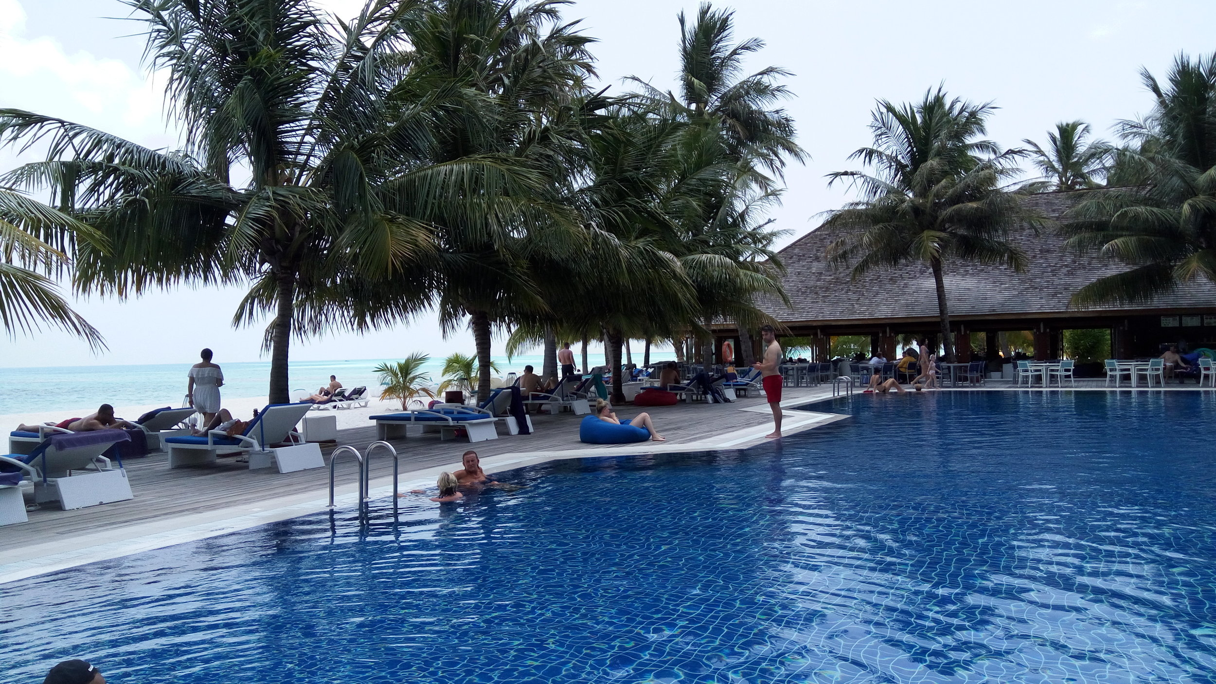 Pool at Meeru with Dhoni Bar in the Background
