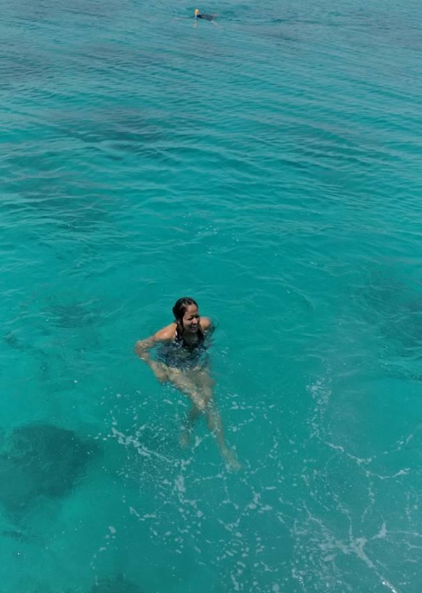 Snorkeling in the open sea In Maldives