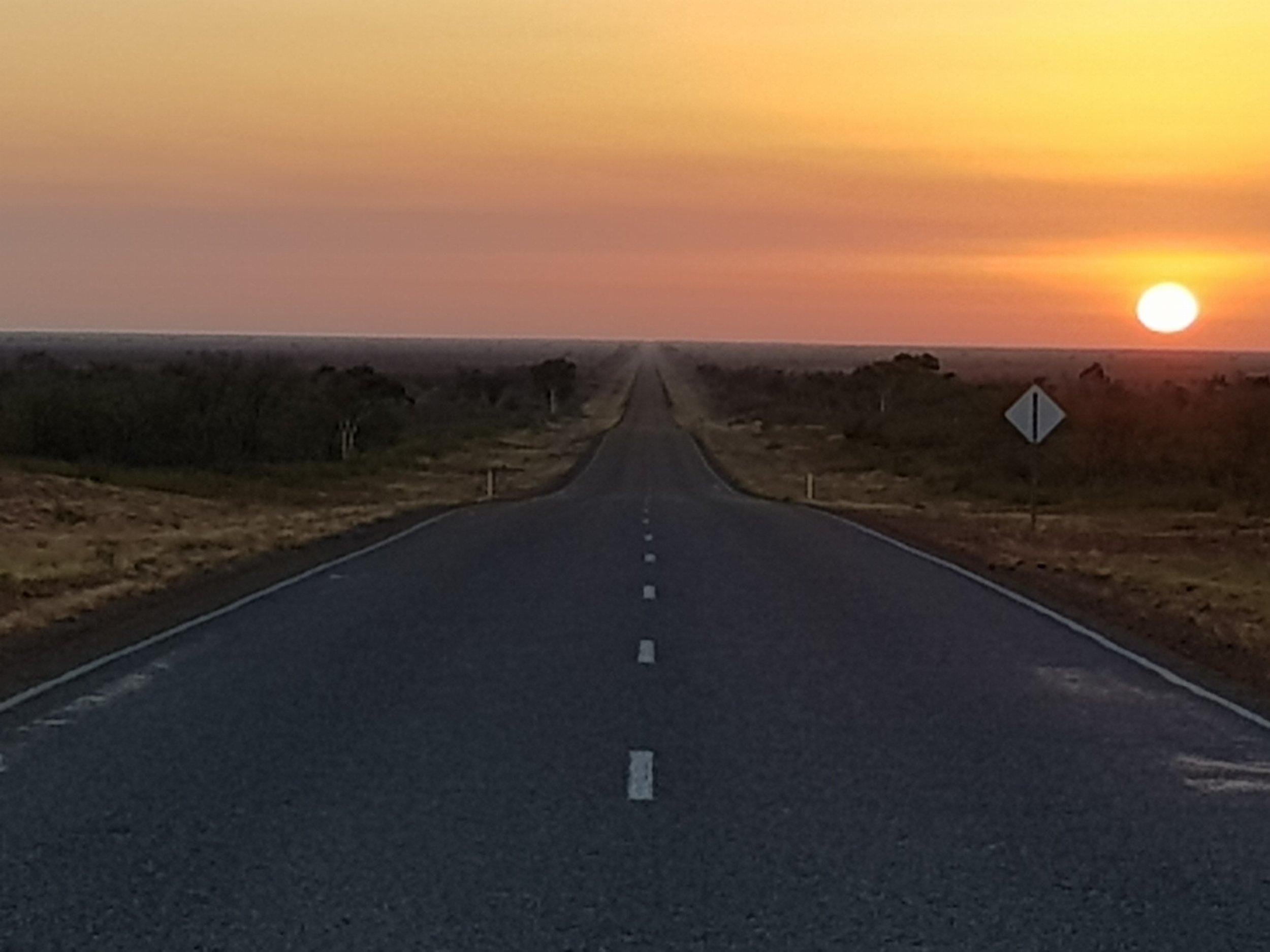 Sunrise on NT highway