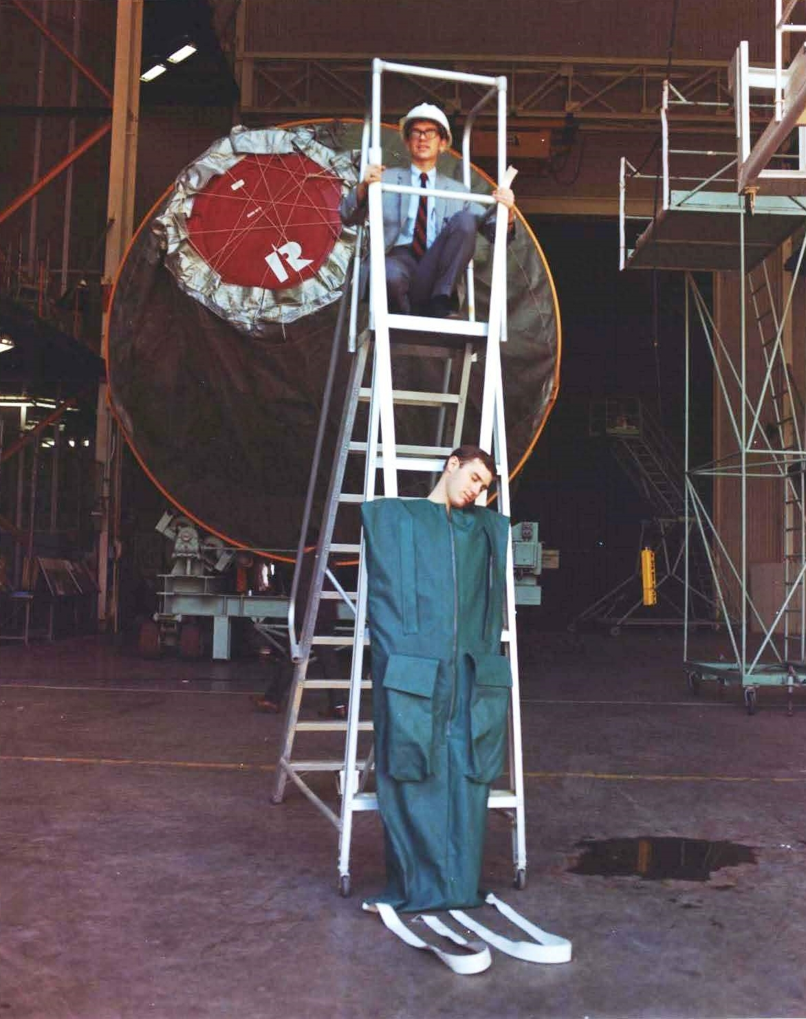McDonnell-Douglas engineer modelling the MOL sleeping bag. ( NRO MOL Photograph 43 . Photo credit: McDonnell Douglas and NRO.)