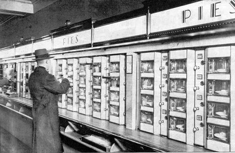 Typical food automats used up through 1991 at Horn and Hardart in New York City. (Image from Wikipedia.)