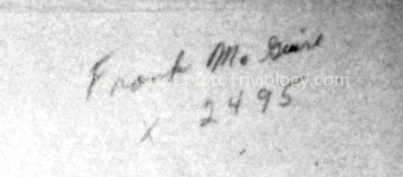 From Painting 38--unclear if this is his signature and extension or if it is direction from someone else to contact him.