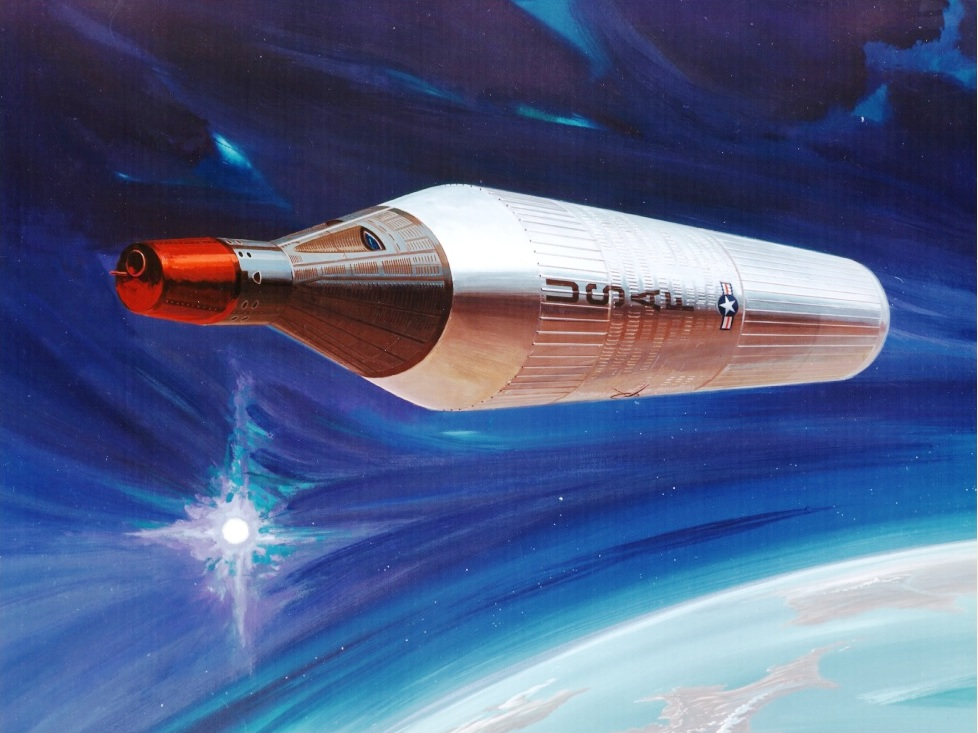 Figure 1. Stylized view of Gemini-B/MOL in low Earth orbit. Note the absence of any maneuvering thrusters, antennae or reconnaissance telescope aperture, but the gratuitous addition of a red nose on the Gemini-B. (Credit: McDonnell-Douglas, 1967)