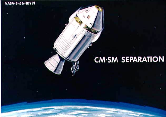 Figure 7. Apollo Service Module (SM) used its forward-firing maneuvering thrusters to insure adequate separation from the command module (CM) during re-entry. MOL apparently did not have a similar capability due to its lack of forward-firing thrusters (see Figure 6). (Credit: NASA.)