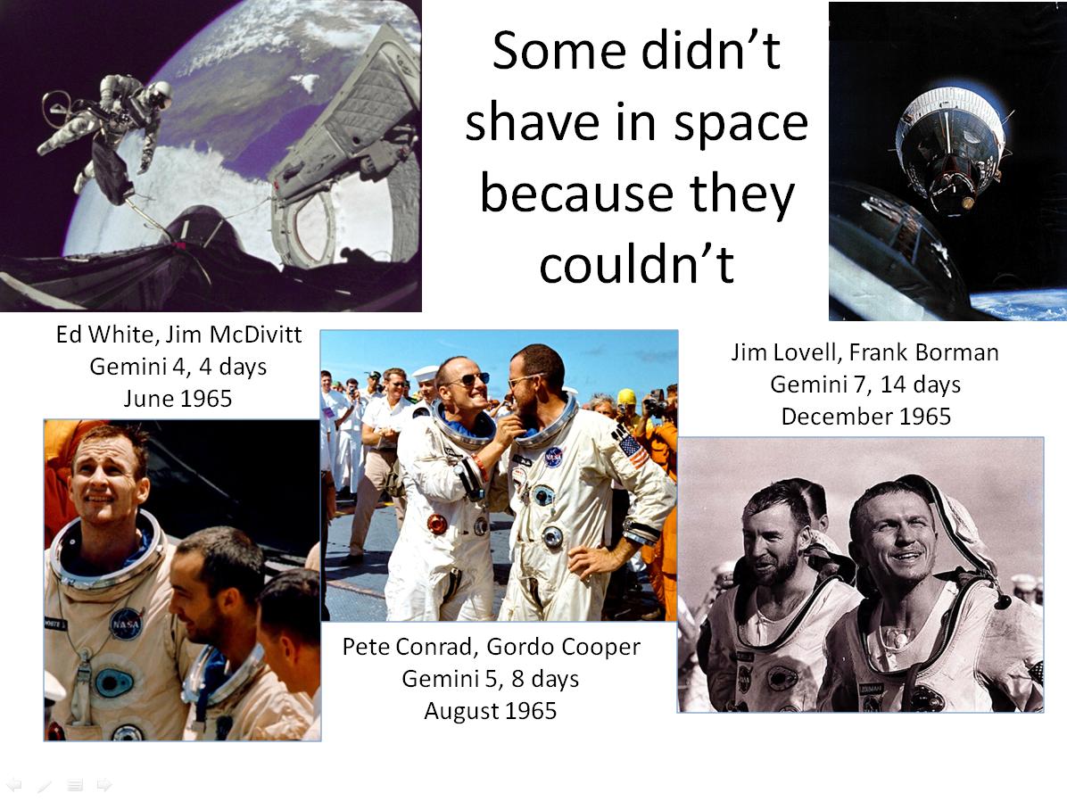 Figure 1. Unshaven astronauts after early Gemini spaceflights. (Credits: NASA.)