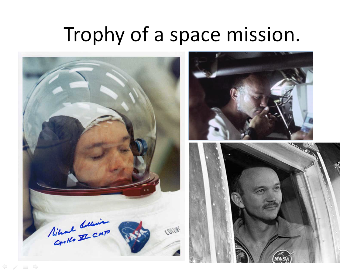 Figure 5. Michael Collins before, during and after Apollo 11. (Credits: NASA.)