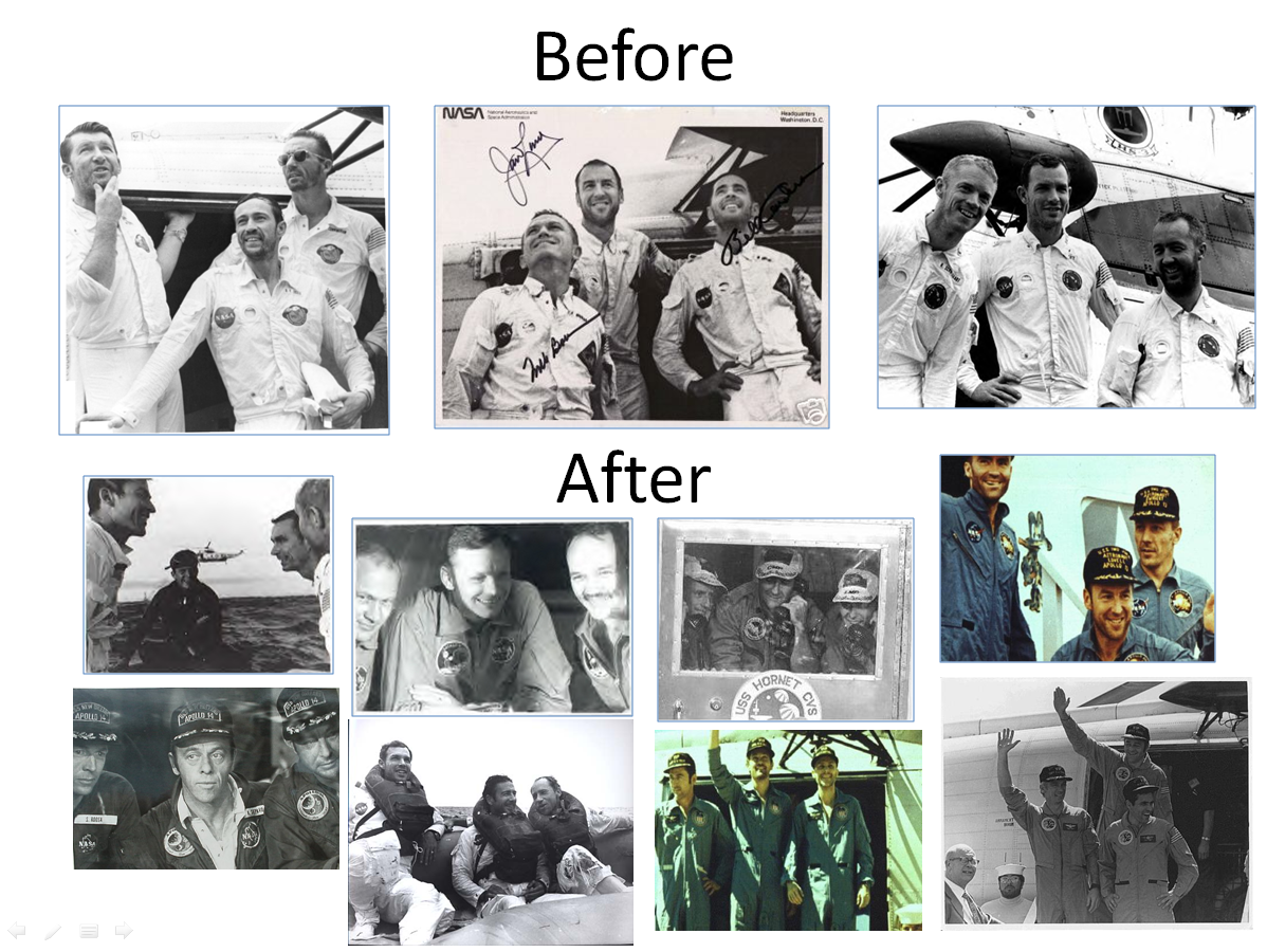 Figure 9. Astronauts after splashdown on Apollo 7, 8 and 9 before inflight shaving became possible and with Apollos 10-17 after on-board shaving became possible. (Credits: NASA.)