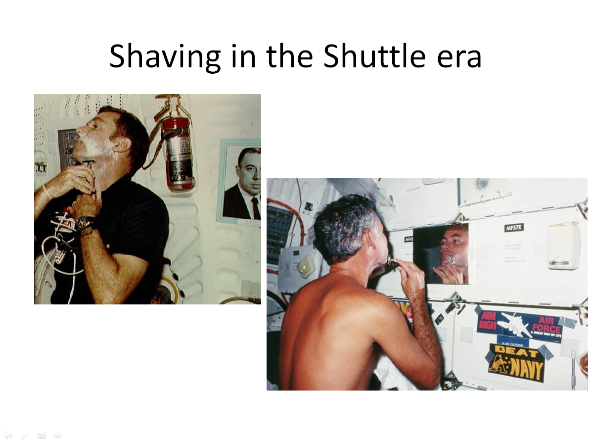 Figure 9. Joe Engle (STS-2) and Mike Mullane (STS 41-D) wet-shaving in the Space Shuttle era. (Credits: NASA.)