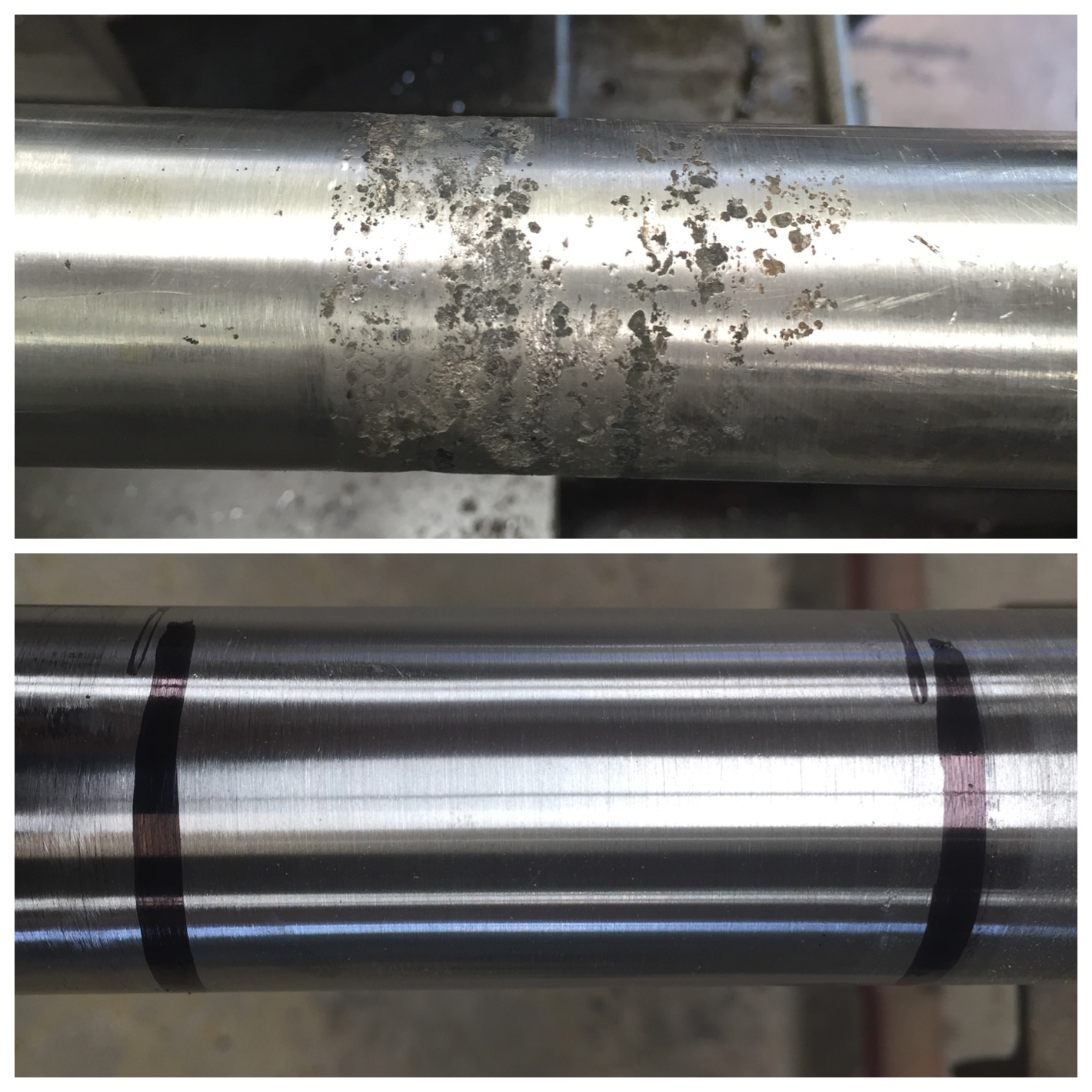 before & after - Seal contact area repaired using our cladding process.